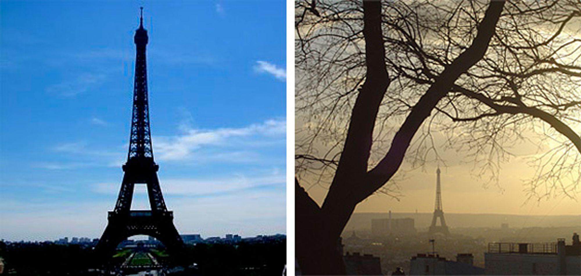 Klassisk og alternativt blikk på Eiffeltårnet. © Leila Haj-Hassan (venstre) og Hossein Khosravi (høyre)