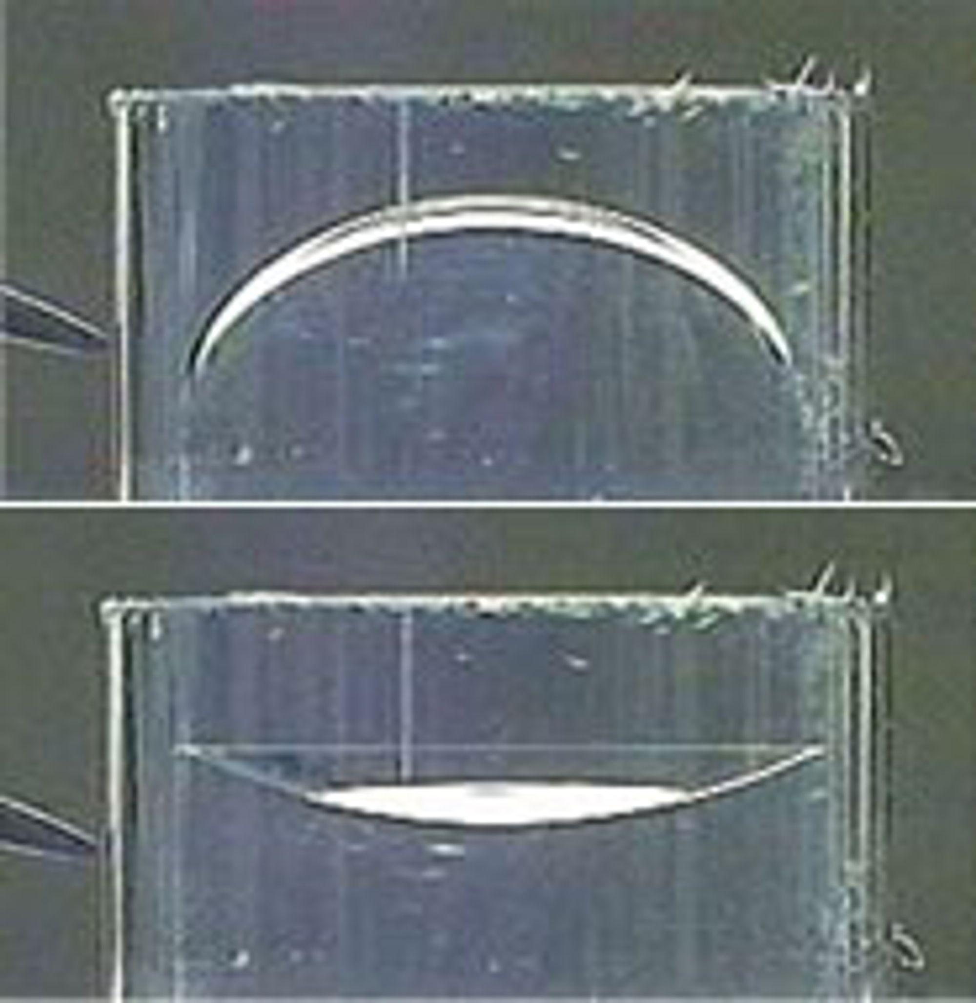 Ved å variere spenningen kan man endre formen på de flytende linselelementene.