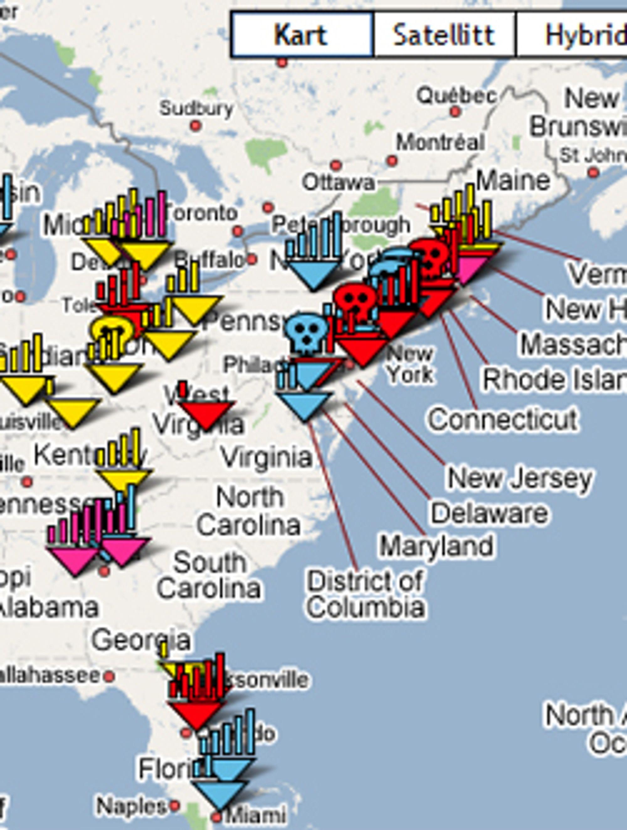 Signamap bruke Google Maps. Skjermskudd fra Signalmap.com.