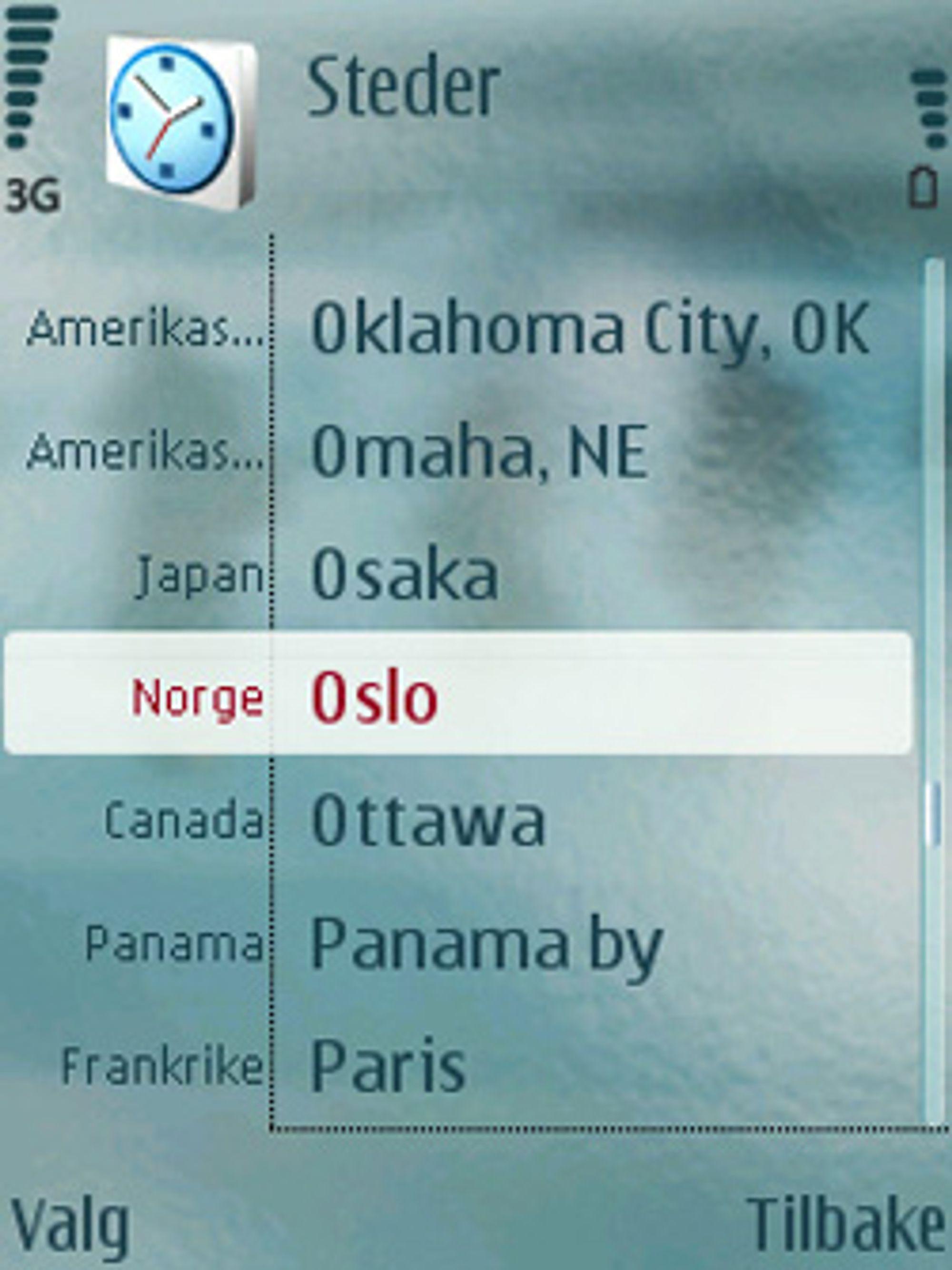 Nokias verdensur lar deg plukke ut land fra en liste.