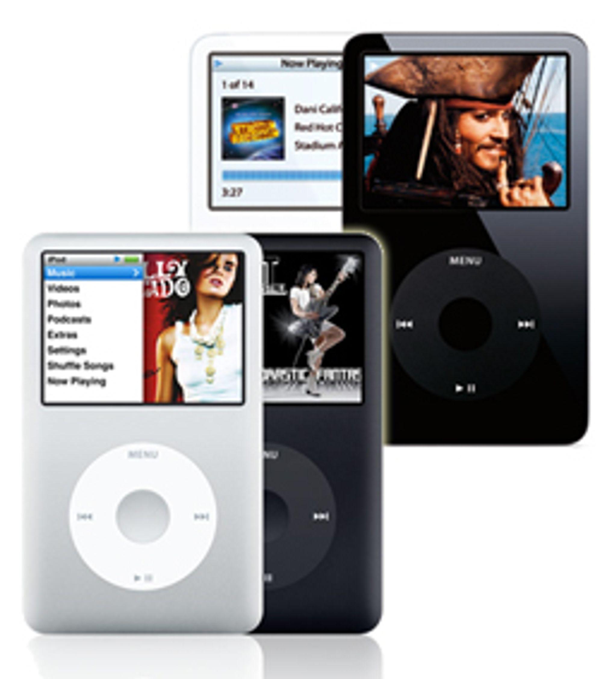 Nye iPod Classic (i forgrunnen) er omtrent like stor som forgjengeren.
