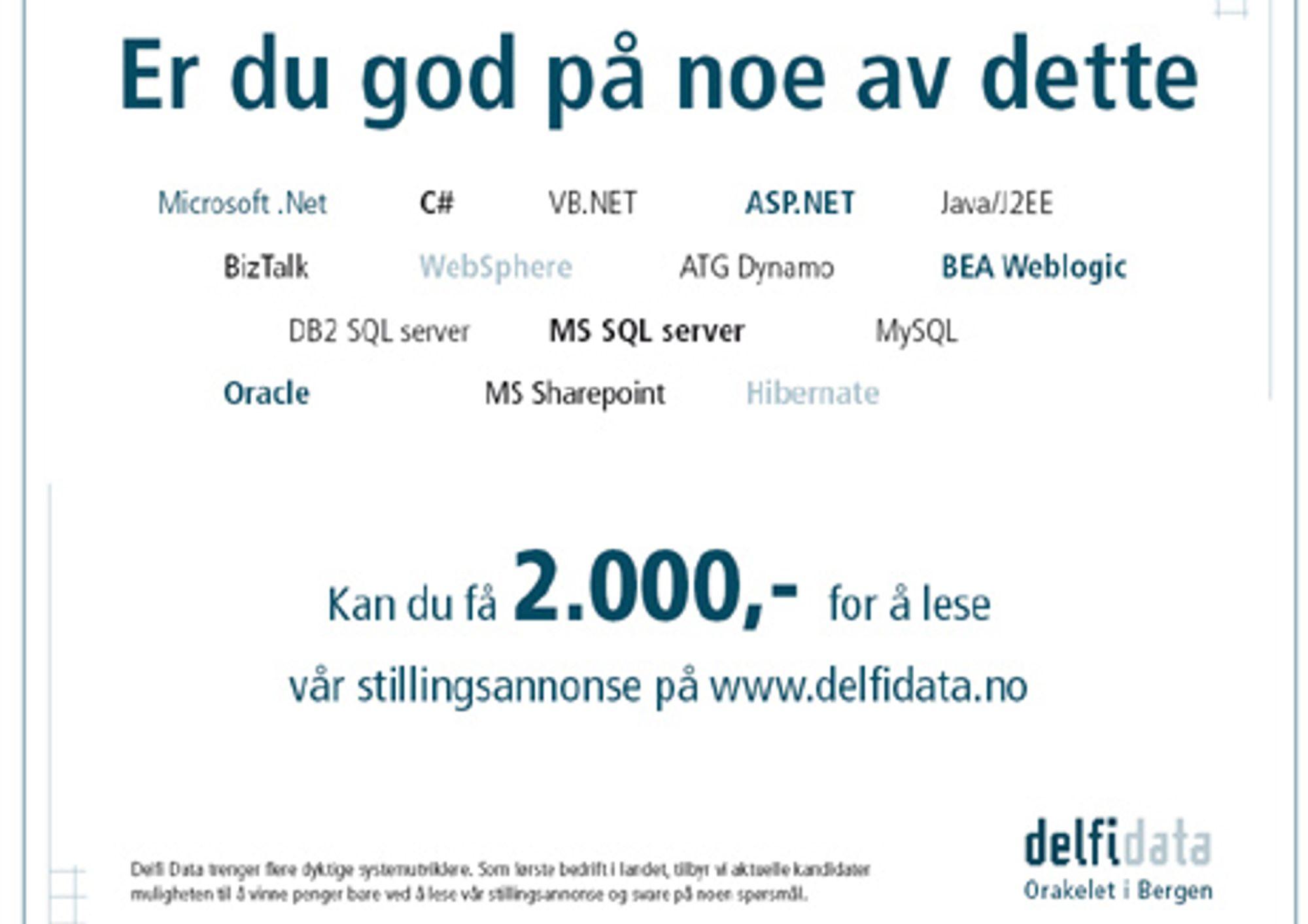 Den originale stillingsannonsen til Delfi Data