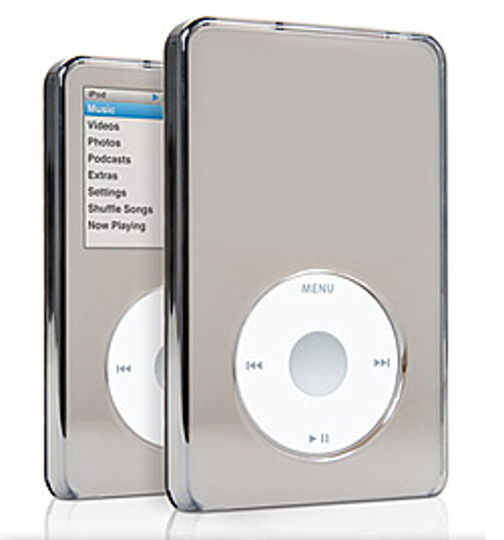 En speilblank bæreveske der skjermen skinner gjennom er blant Griffins nye iPod Classic-tilbehør. (Foto: Griffin)
