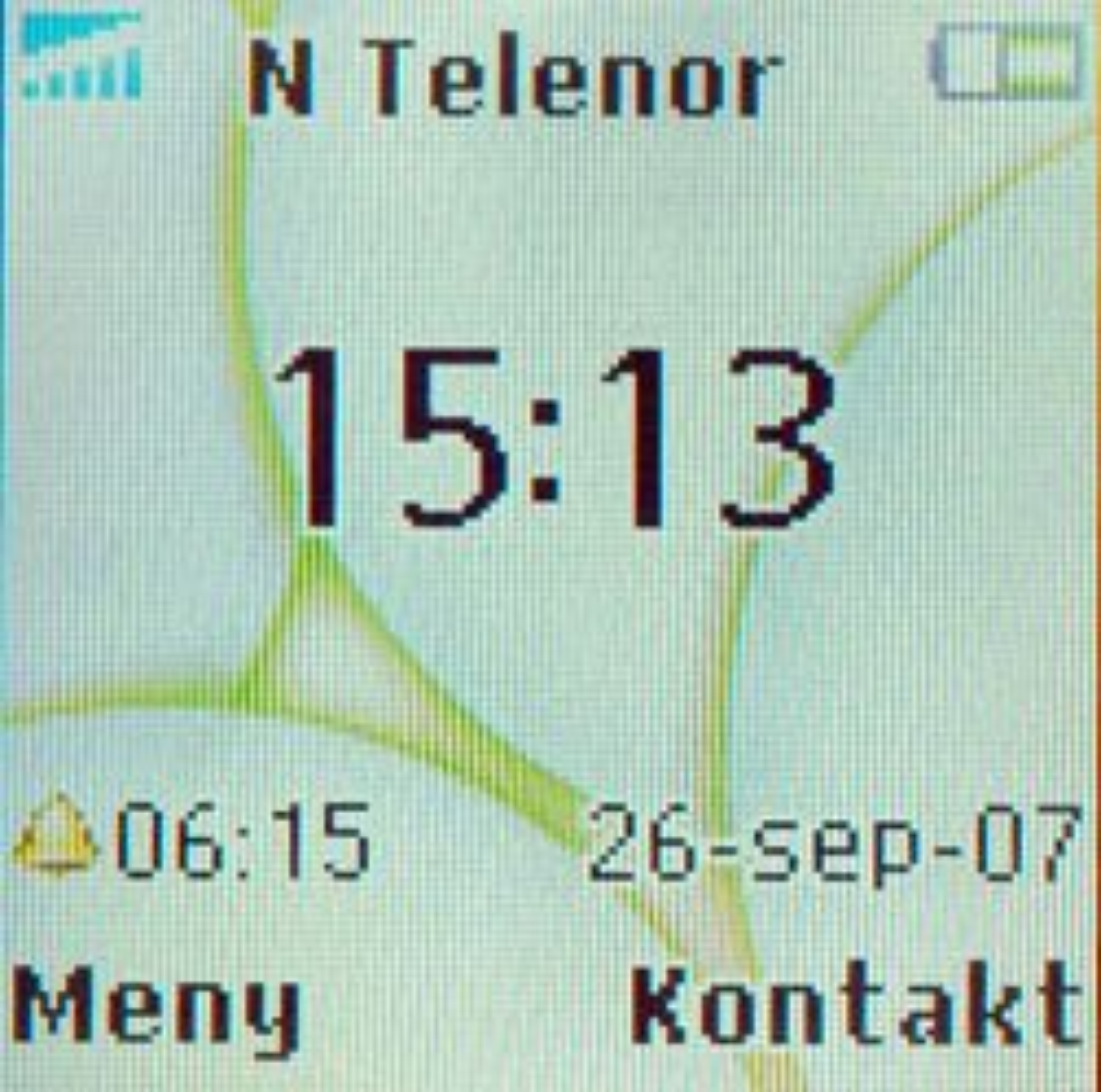 Klokken vises tydelig på skjermen.