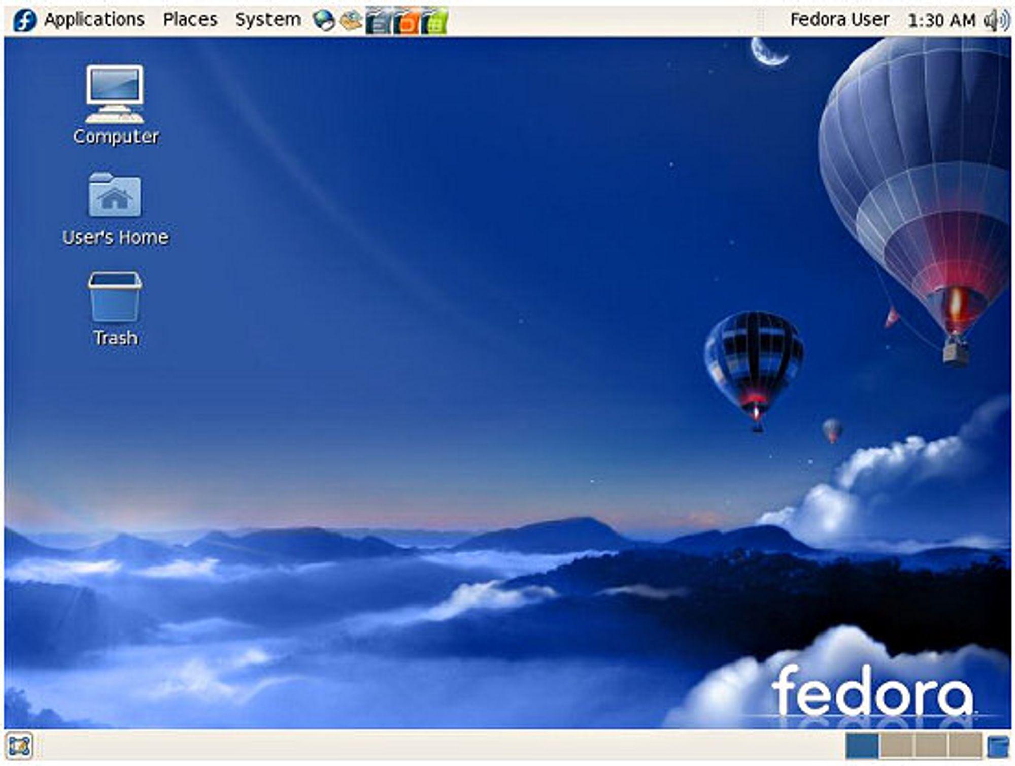 Standard-skrivebordet i Fedora 7