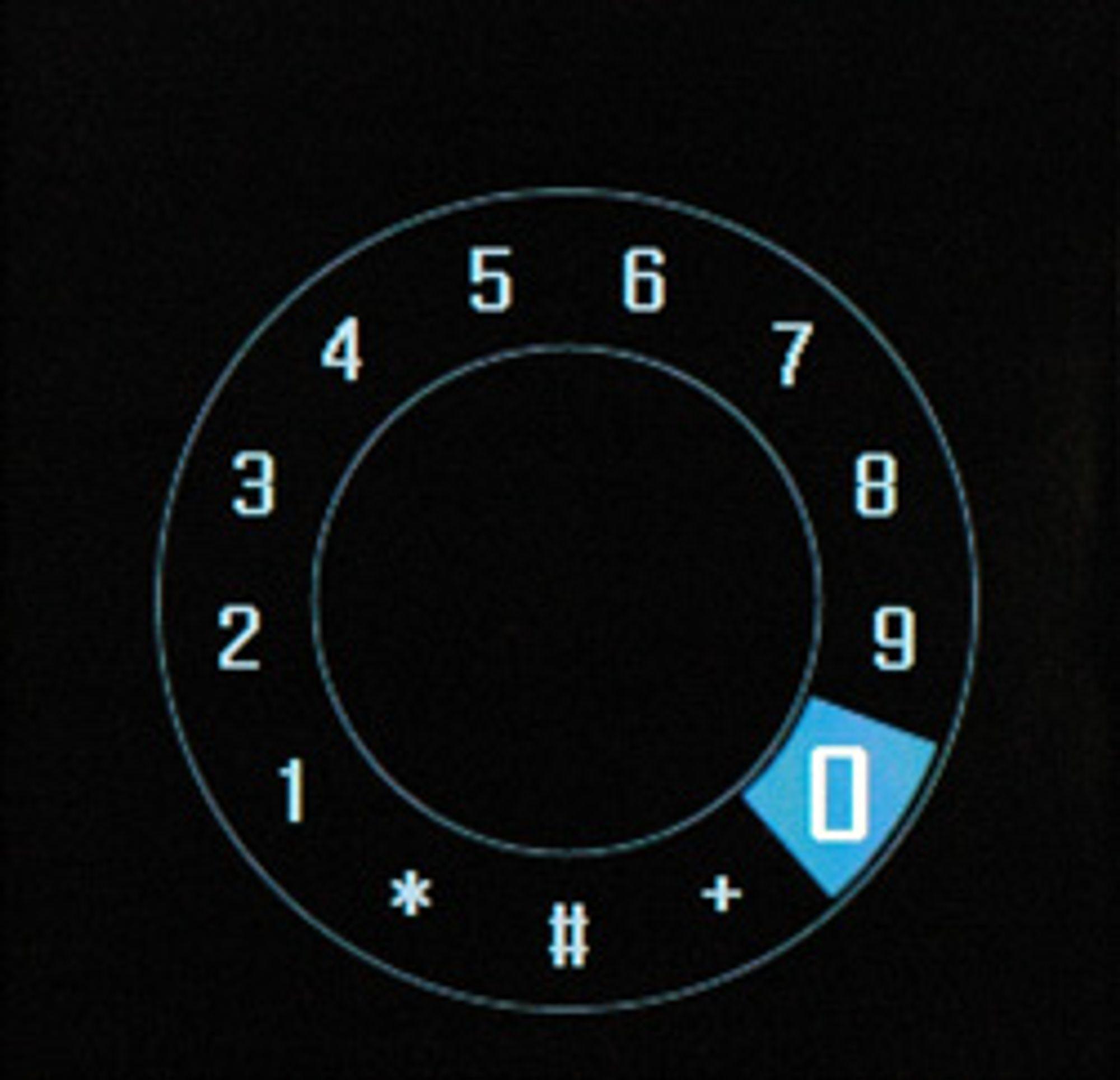 For å taste inn telefonnumre er det bare å rulle på hjulet for å flytte den blå markøren og trykke i midten for å bekrefte.