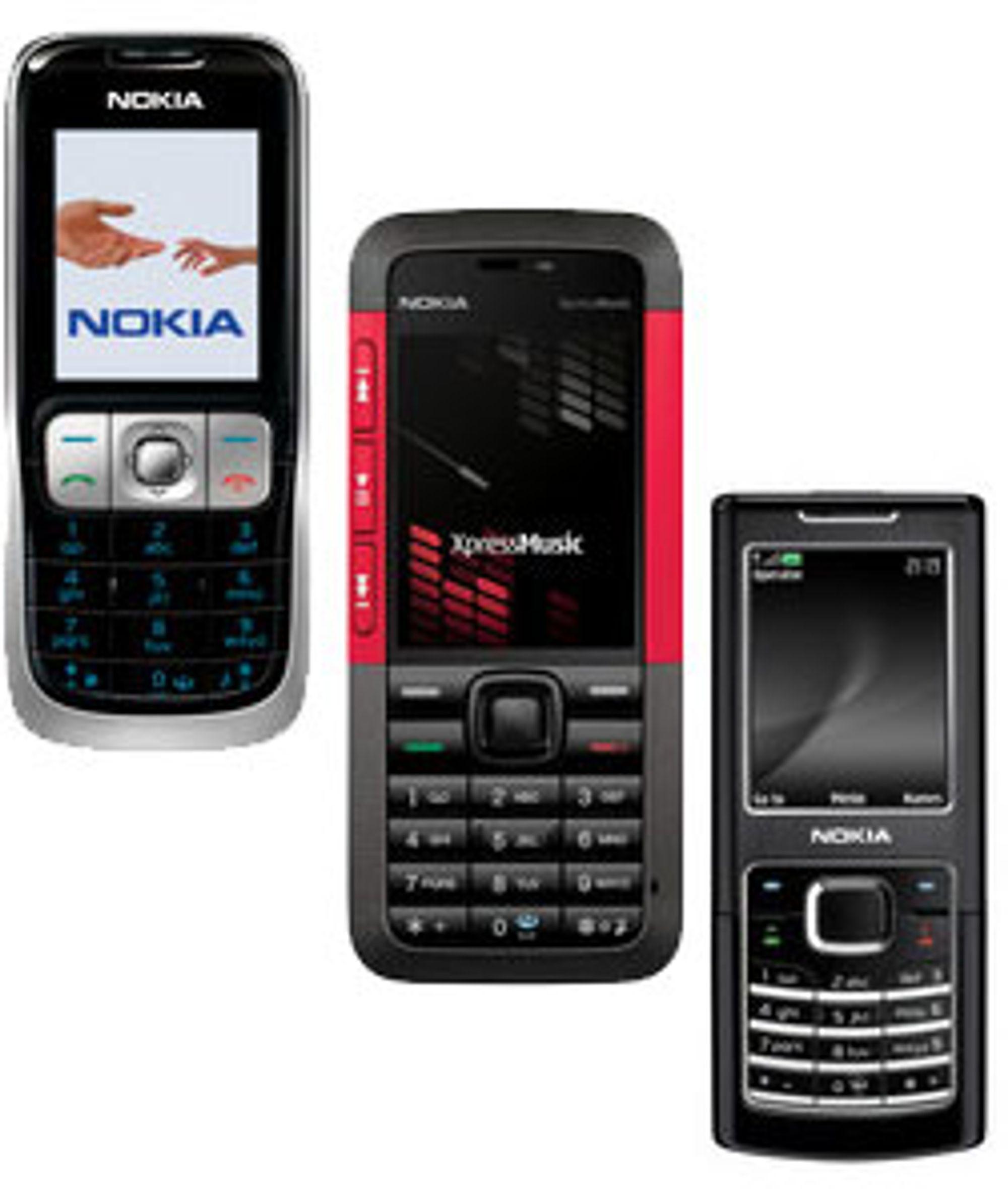 Fra venstre: Nokia 2630, 5310 og 6500 Classic.