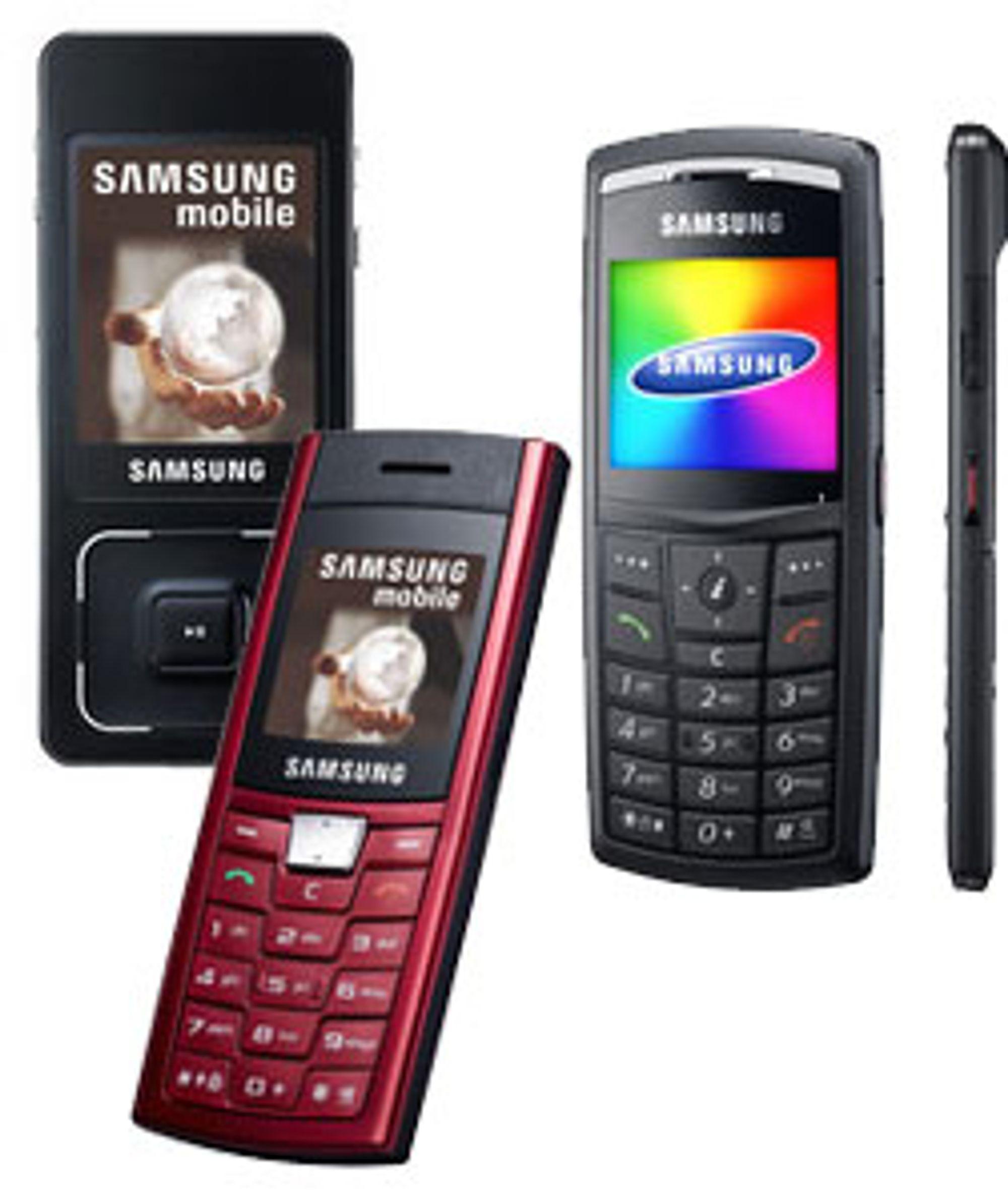 Fra venstre: Samsung F300, C170 og X820.