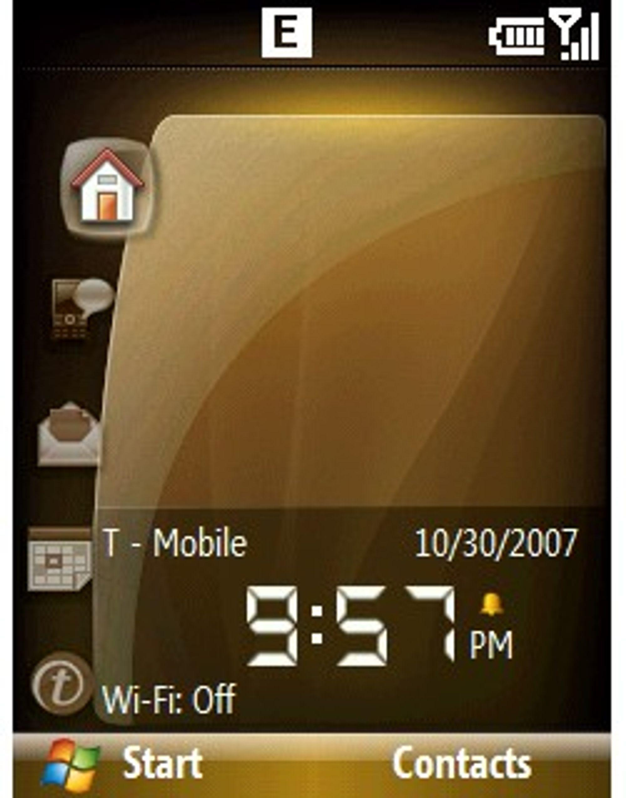 Bildet viser menyene i T-Mobile Shadow.