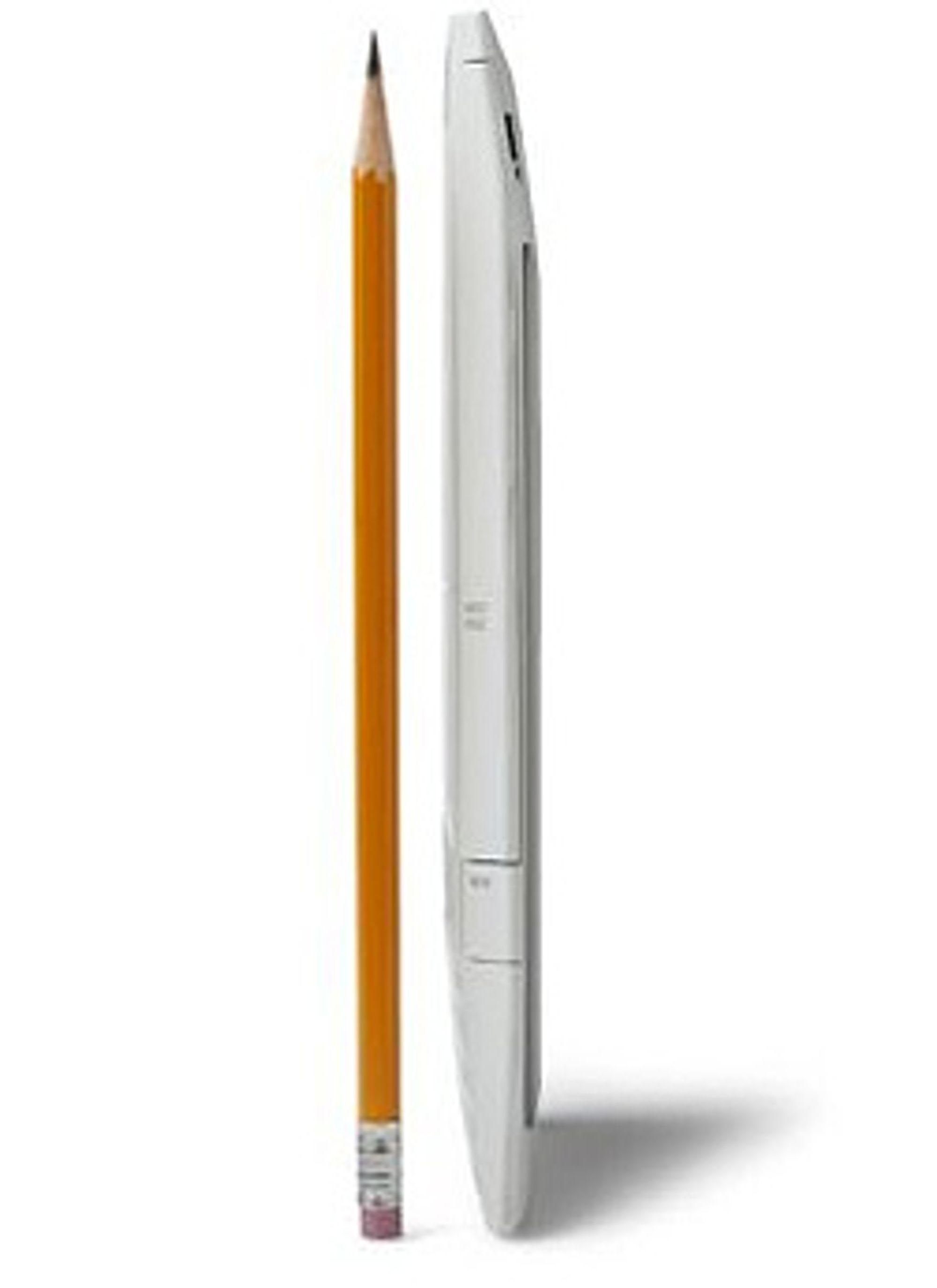 Kindle er ikke mye tykkere enn en blyant.