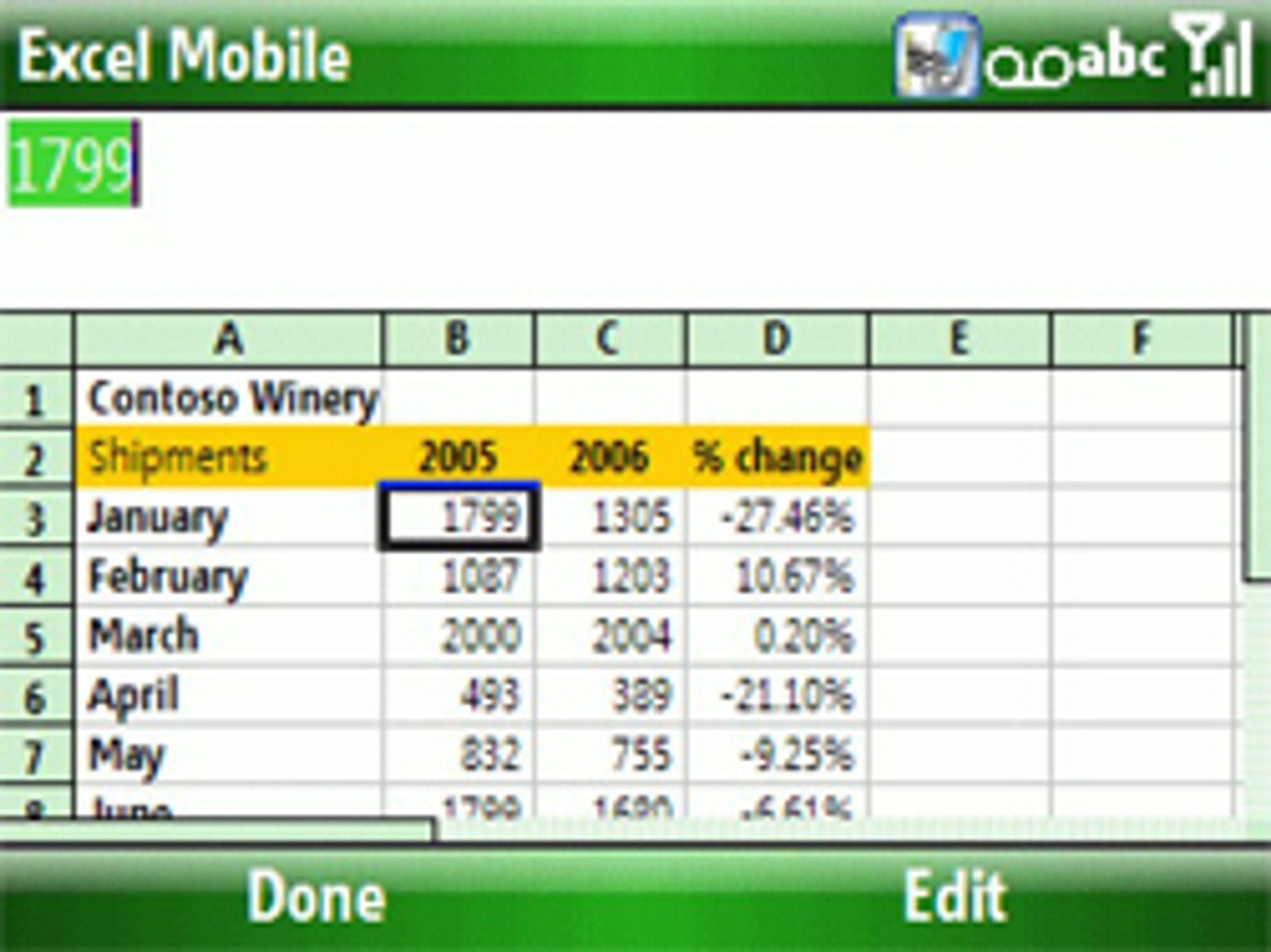 Den nye Office Mobile skal gjøre det enklere å se på Excel-ark på mobilen. (Foto: Pocket PC Thoughts)