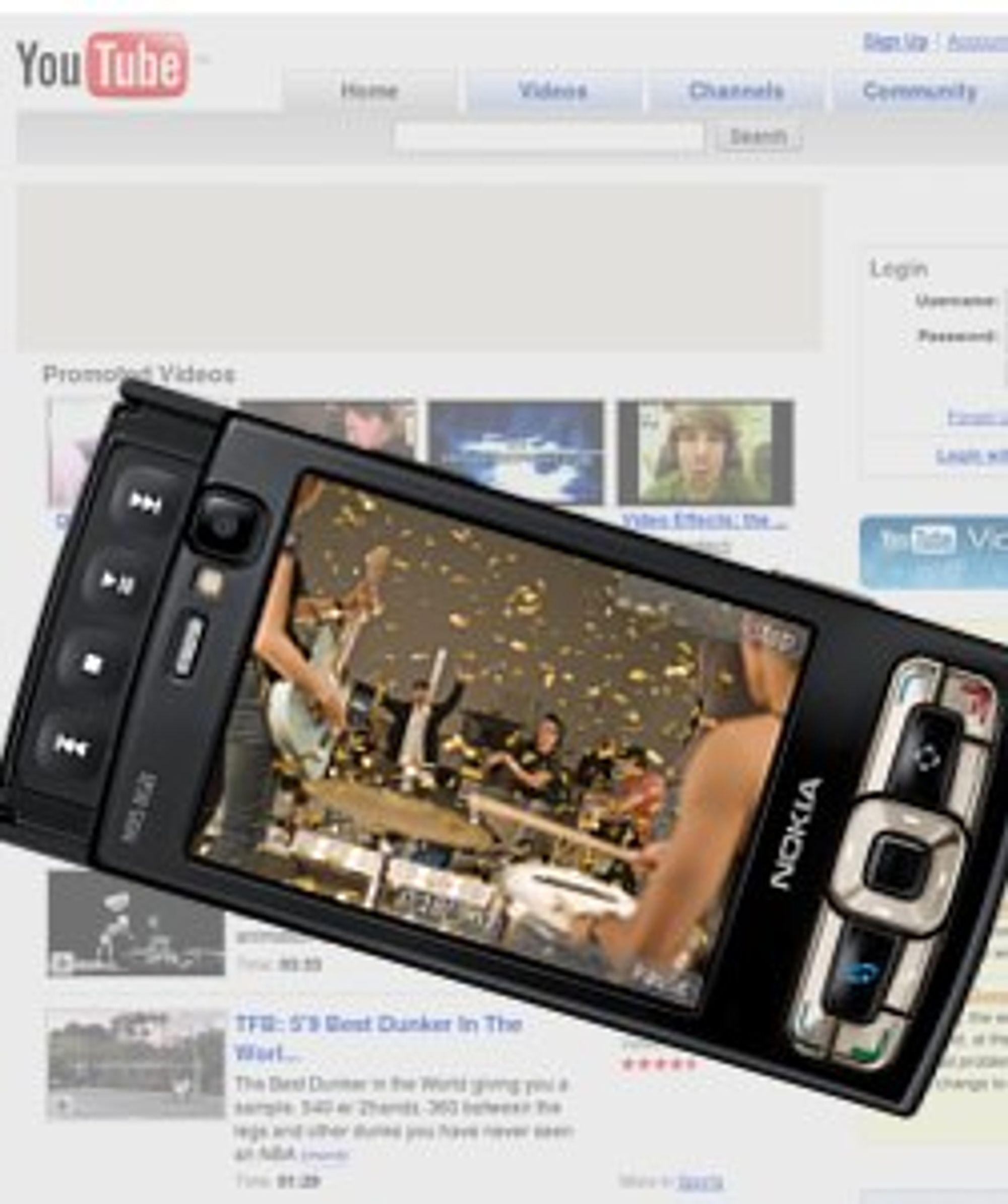 S60-telefoner som Nokia N95 kan endelig vise deg YouTube-videoer. (Illustrasjon: Einar Eriksen)