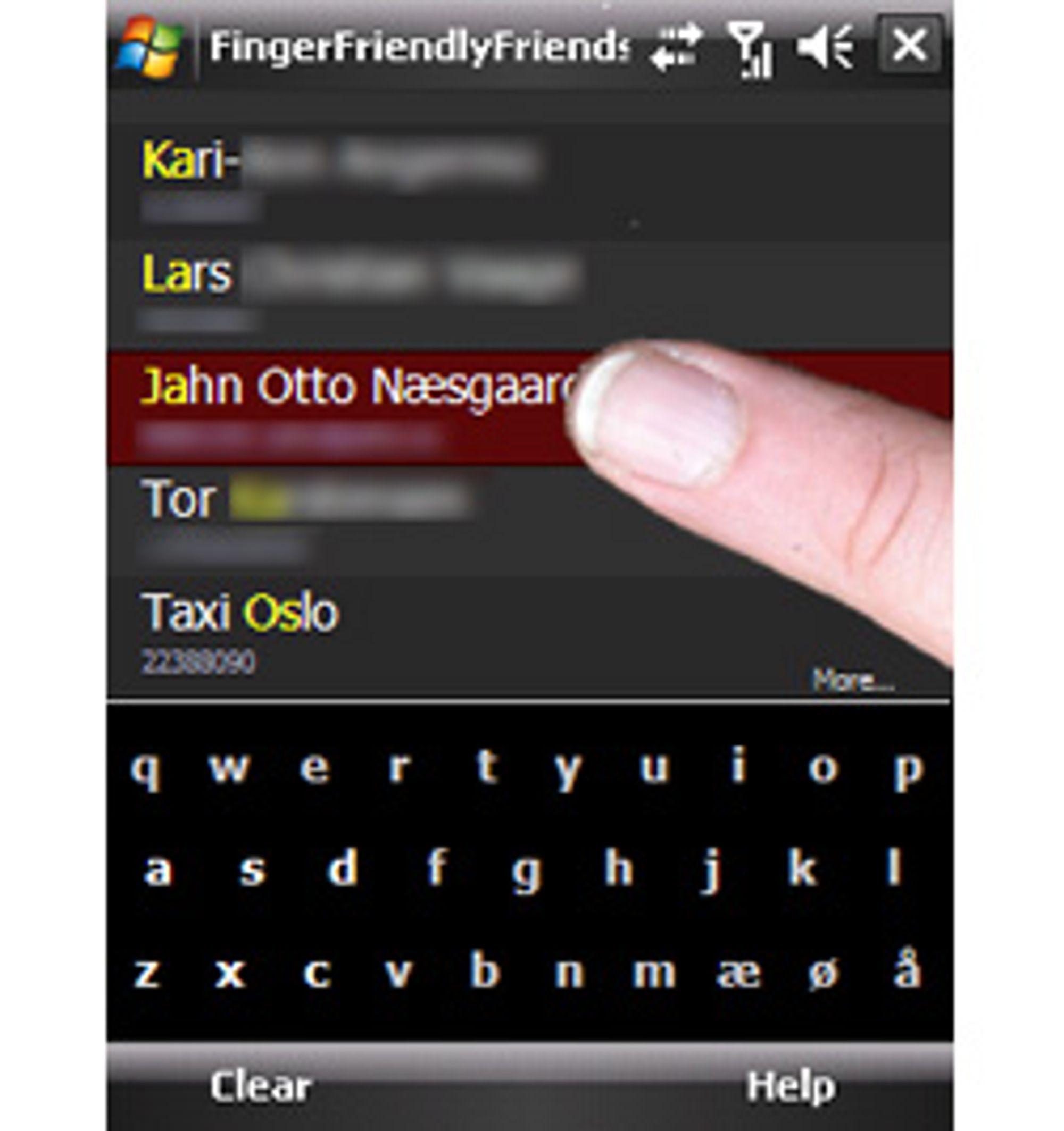Slik ser kontaktlisten til Finger Friendly Friends ut. (Alle bilder: Finger Friendly Friends)