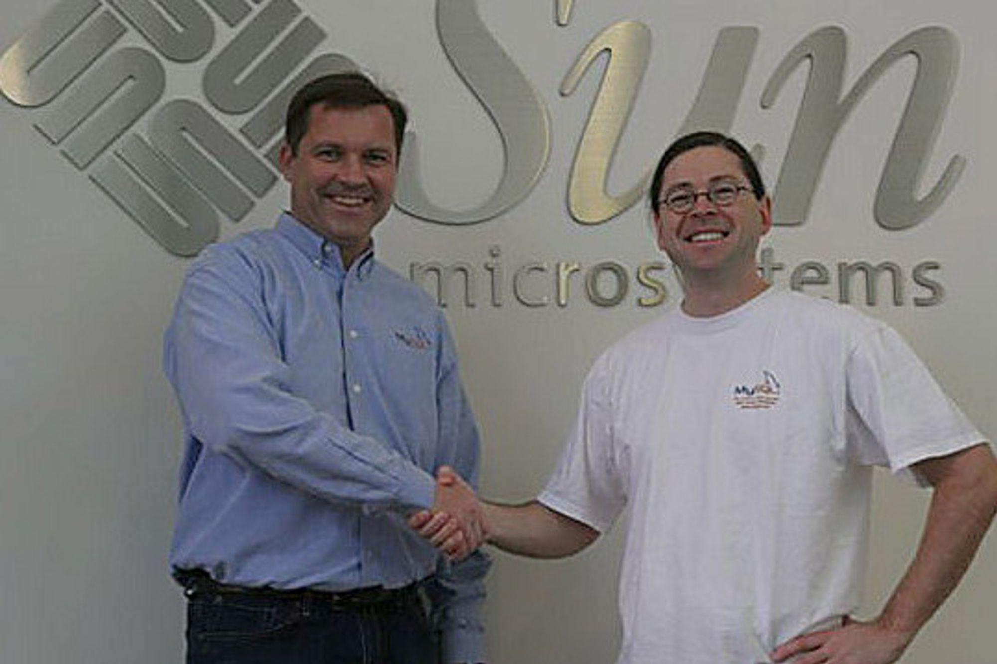 Jonathan Schwartz og Marten Mickos, CEO i MySQL