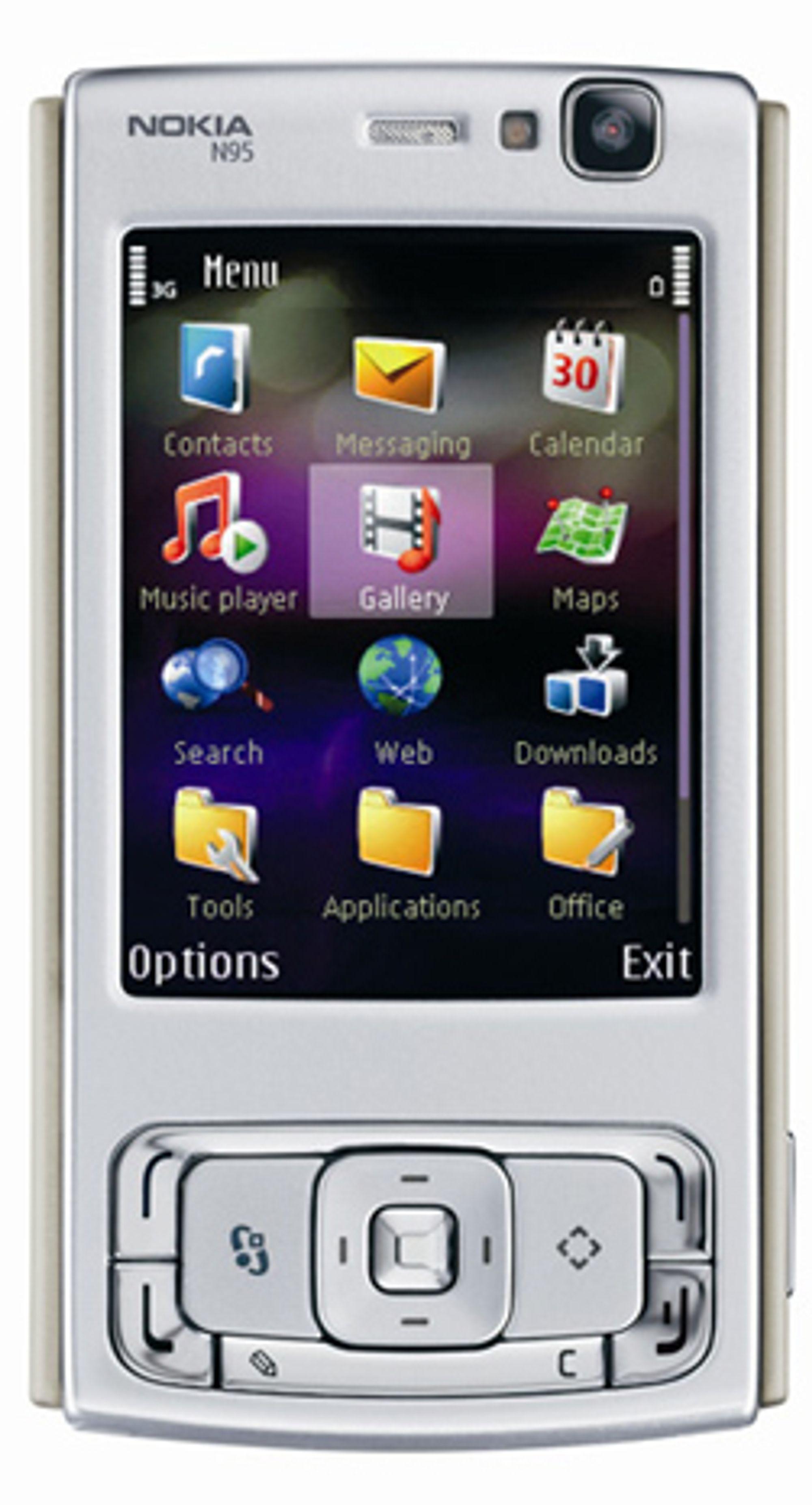 N95 kommer i svart og med 2 GB minne ved sin side. (Foto: Nokia)