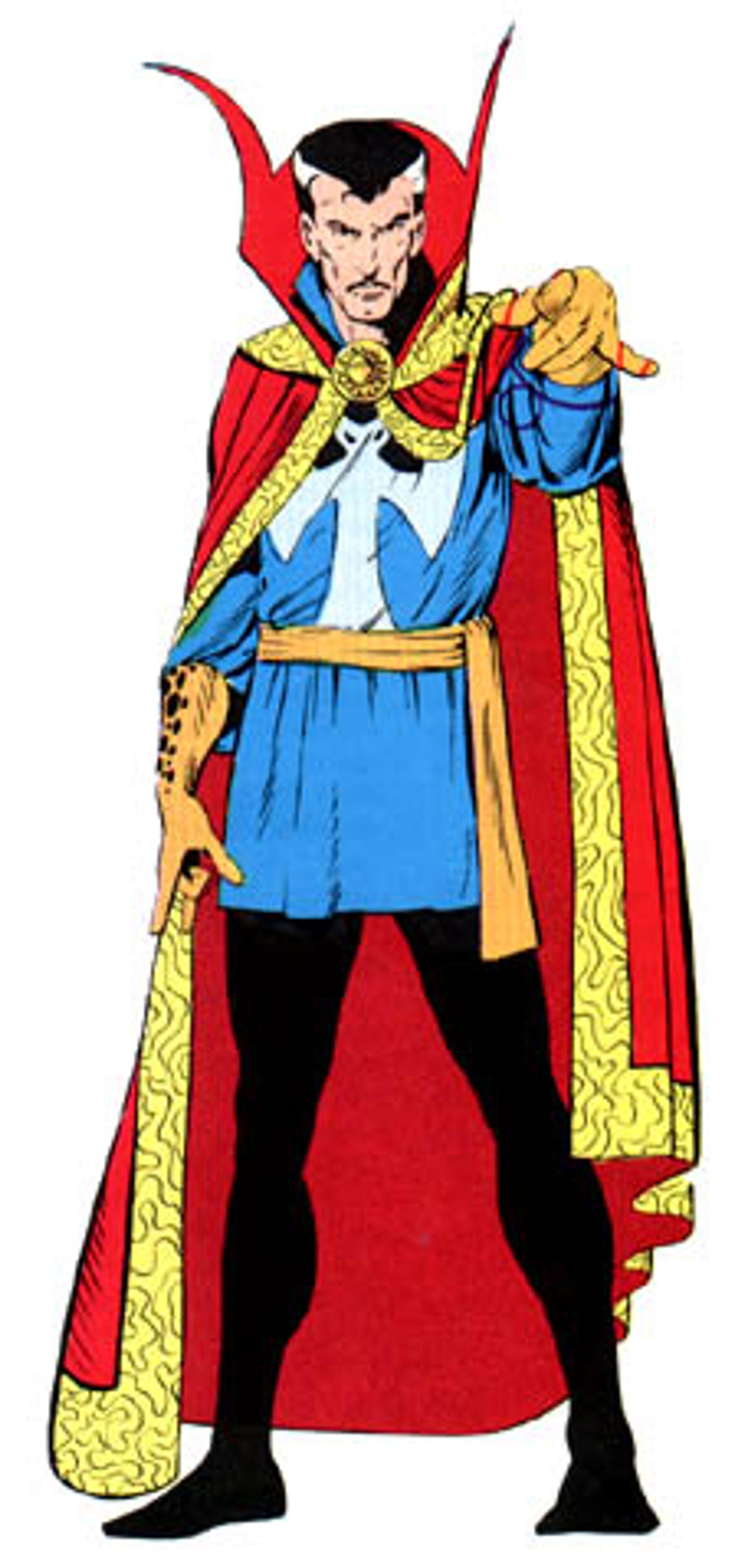 Dr. Strange, i sitt sedvanlige og noe tøysete kostyme.