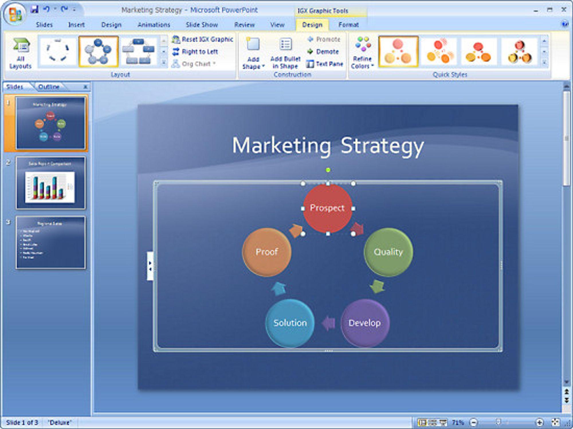 Skjermbilde fra PowerPoint 2007