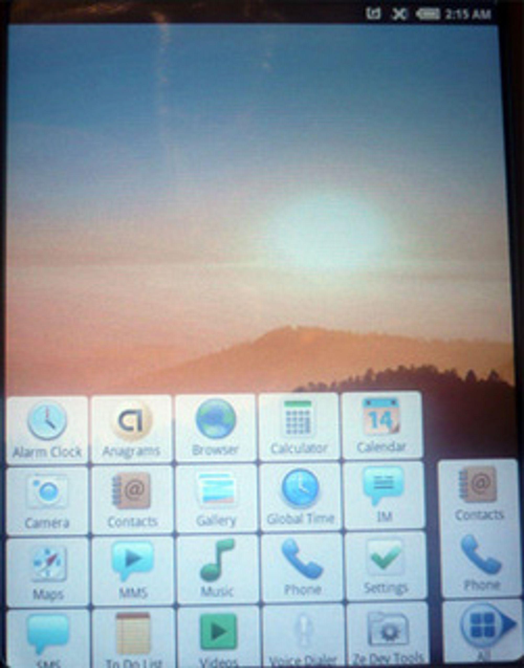 Hovedmenyen til Android. (Foto: Einar Eriksen)