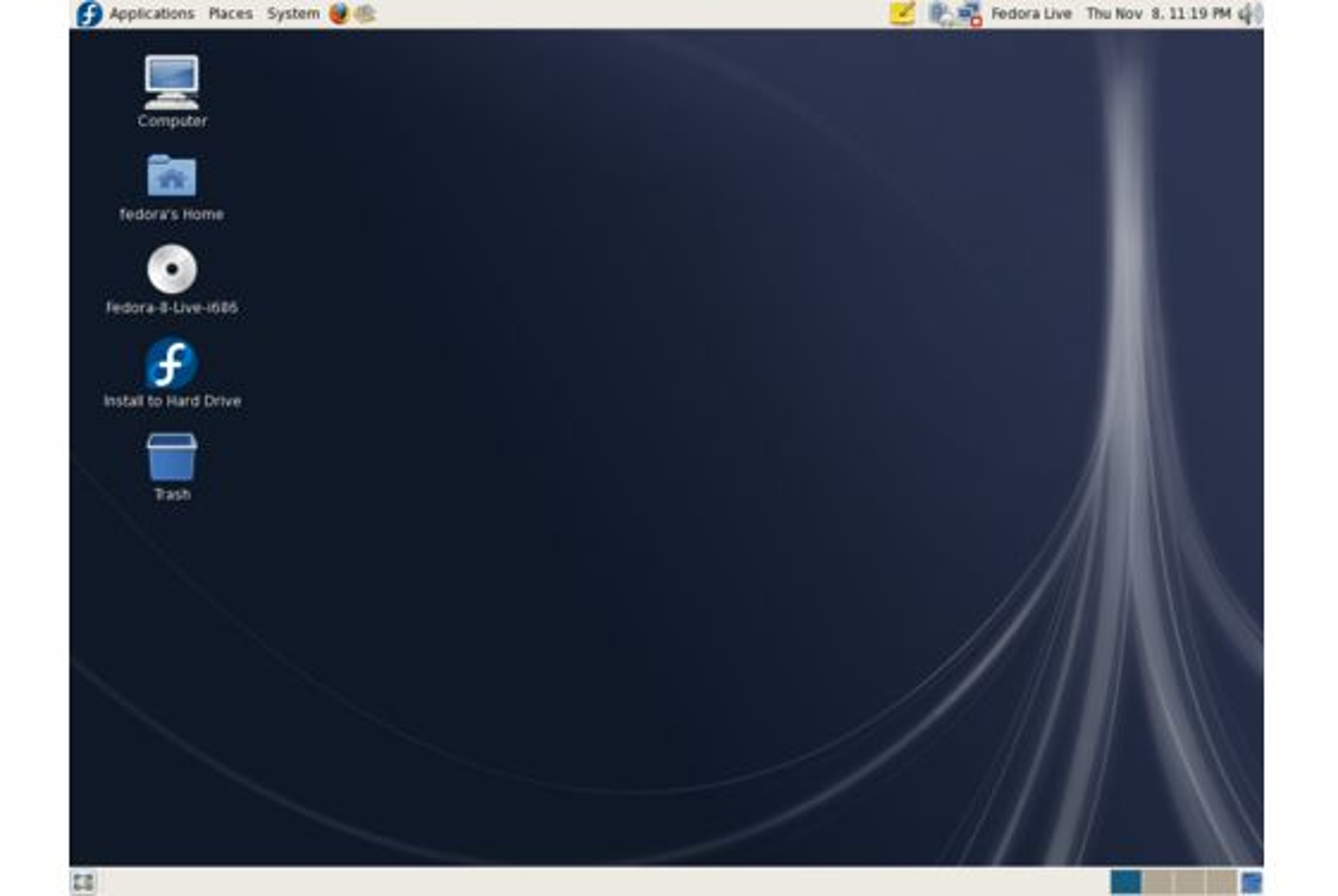 Fedora 8 med Gnome skrivebordsmiljø