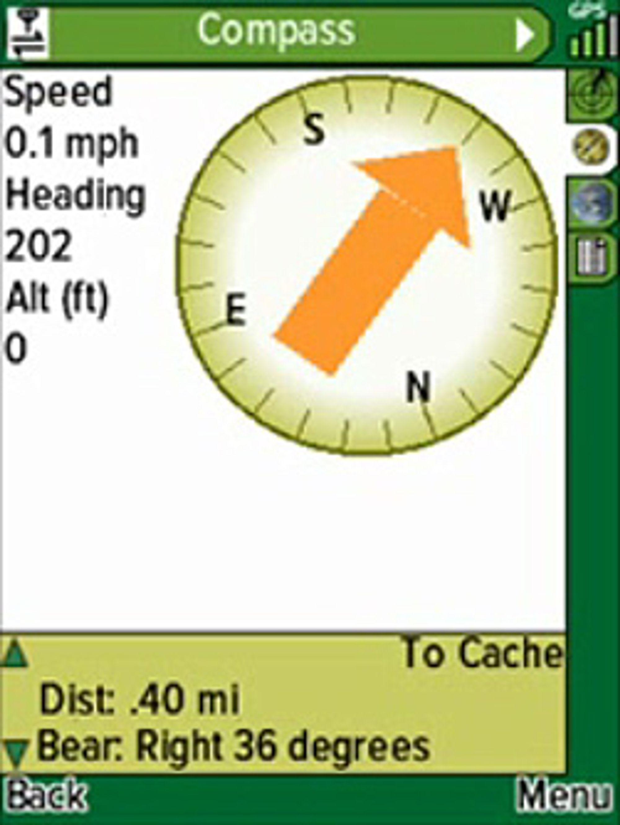 Skjermskudd fra Geocache Navigator. (Foto: Skjermskudd fra Youtube-video)