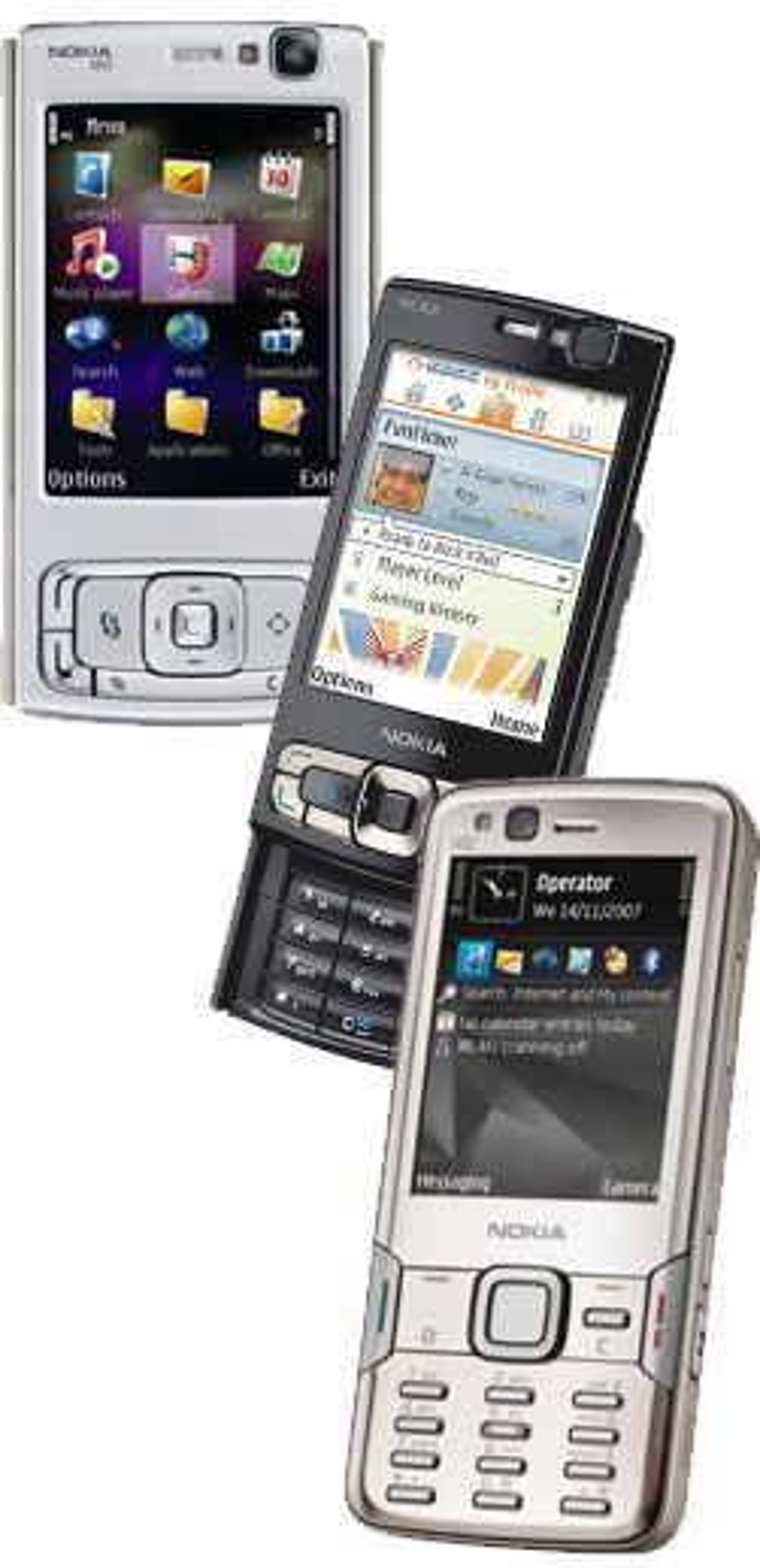 Den originale N95 (t.v.), N95 8 GB og N82 er tre av de mest populære GPS-mobilene på markedet.