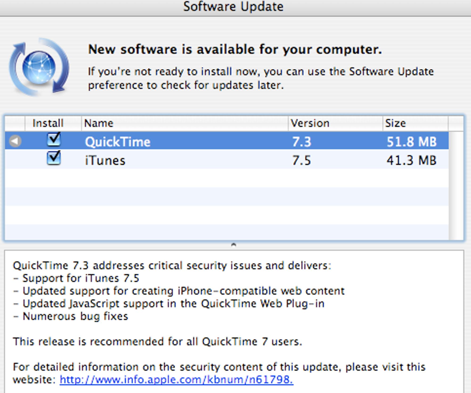 Eldre QuickTime-oppdatering - husk å krysse vekk annen programvare dersom du ikke vil ha den