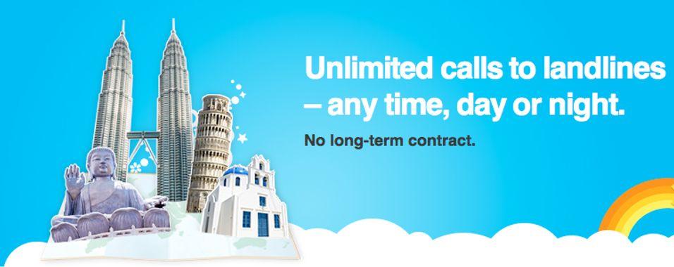Skype innfører nå fastpris på utenlandssamtaler.