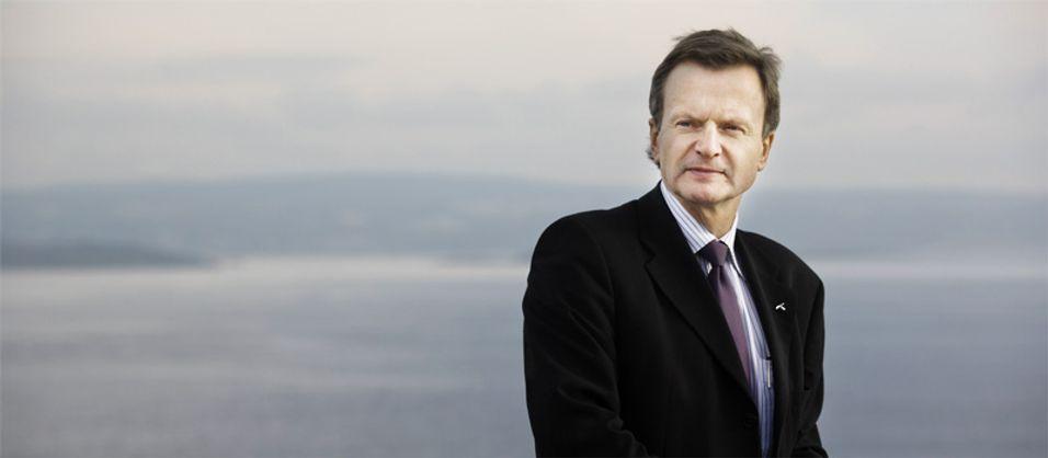 I hardt vær: Konsernsjef John Fredrik Baksaas og Telenor