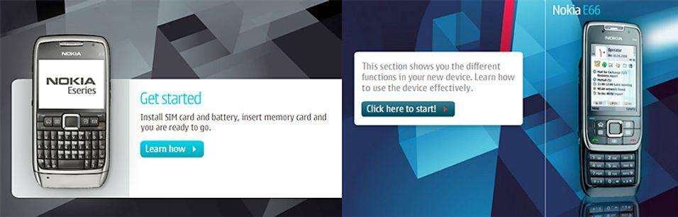 Slik ser E66 og E71 ut på Nokia.com