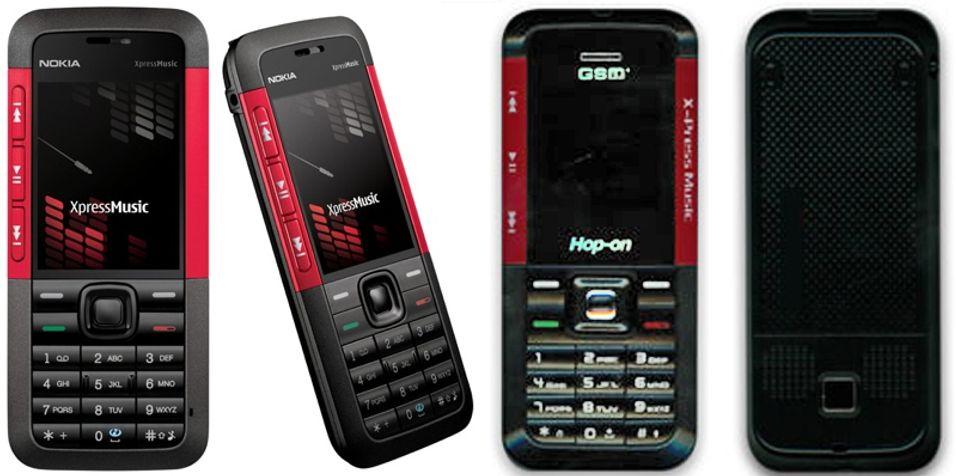 HOP1803 til høyre og den originale Nokia 5310 til venstre.