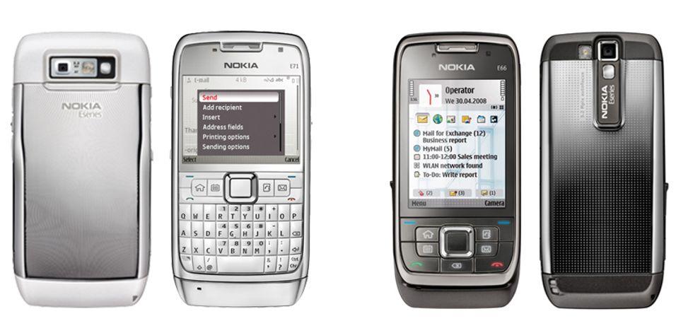 Fra høyre: E71 og E66, Nokias nyeste e-postmodeller.