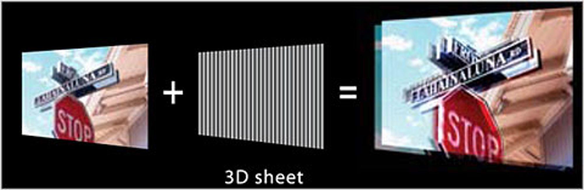 Med et eget filter, får du 3D-bilder uten bruk av briller og uten flimring.