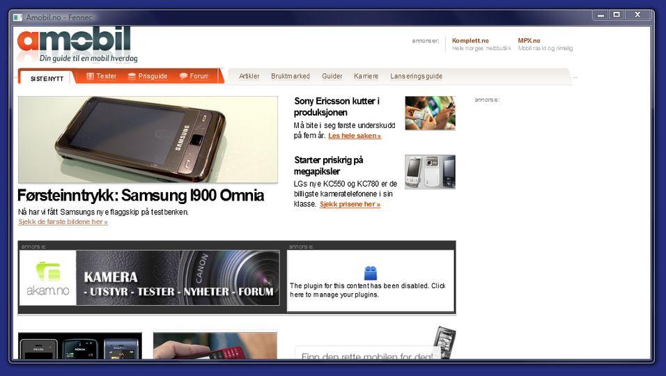 Slik ser den første mobilutgaven av Firefox ut.