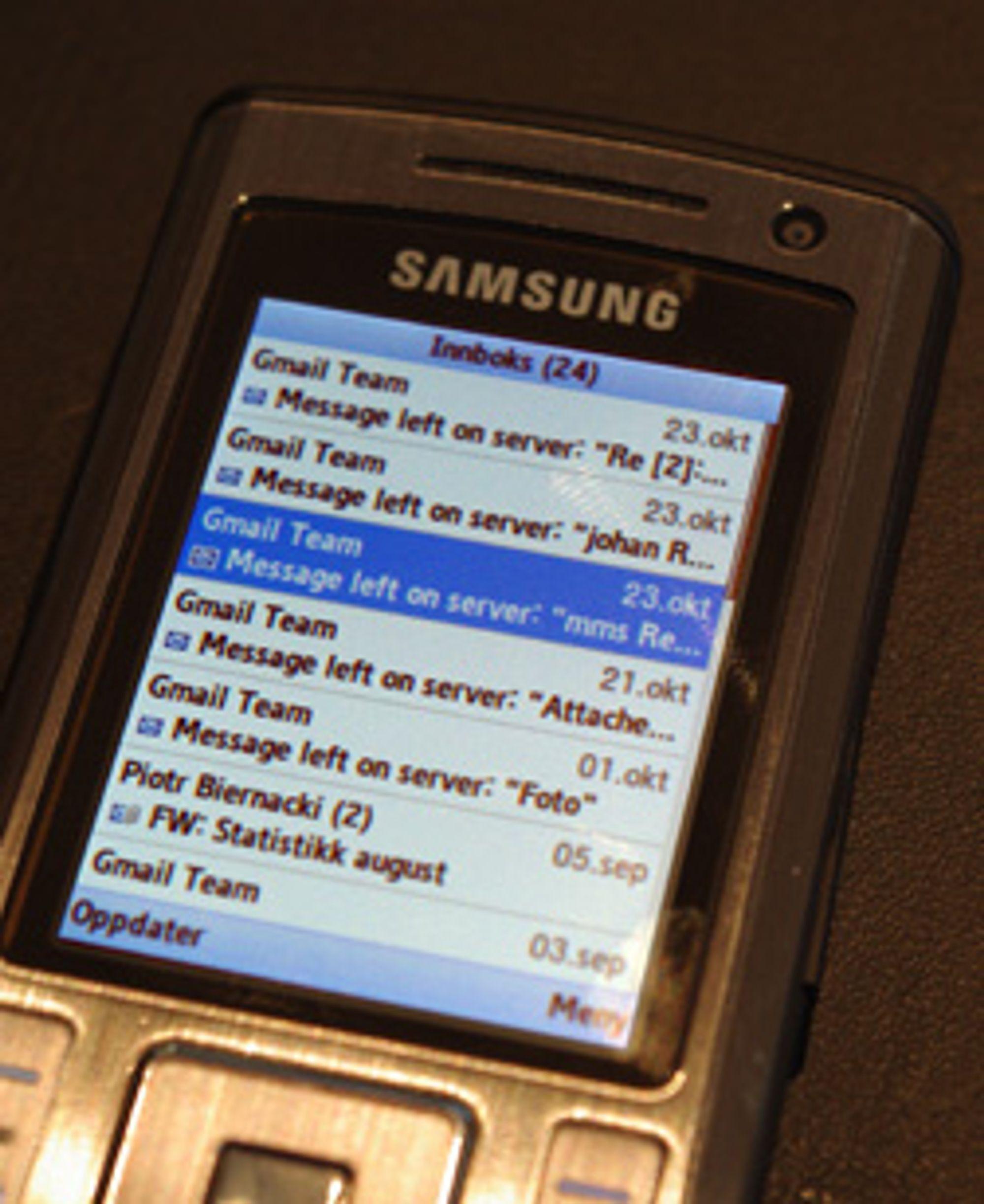 Nå støtter Gmail-klienten nesten alle mobiler. (Foto: Einar Eriksen)