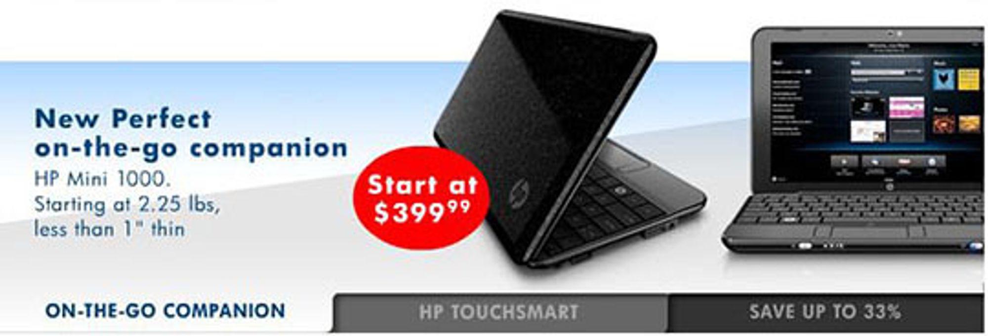 Reklamen på HPs nettbutikk