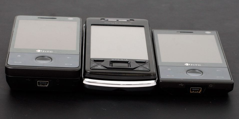 Fra venstre: HTC Touch Pro, Sony Ericsson Xperia X1 og HTC Touch Diamond.