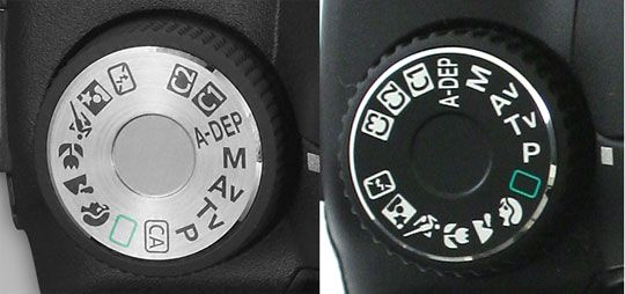 Programhjulet på EOS 50D (tv.) og EOS 40.