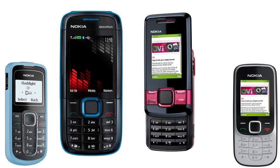 Nokia lanserer (fra venstre) 1202, 5130, 7100 og 2323, og tre til.