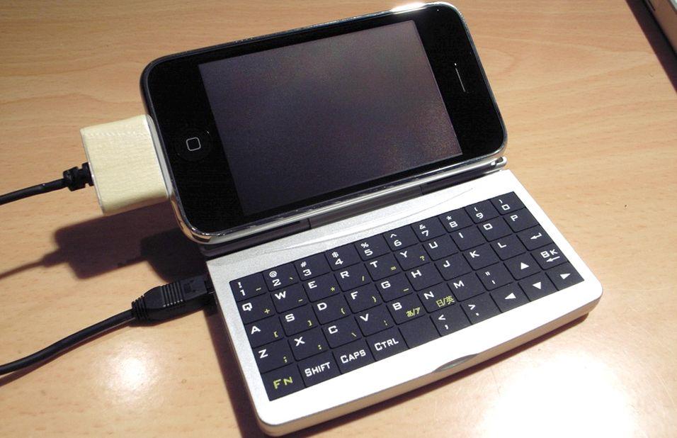 Denne Iphone-en er utstyrt med et USB-tastatur.