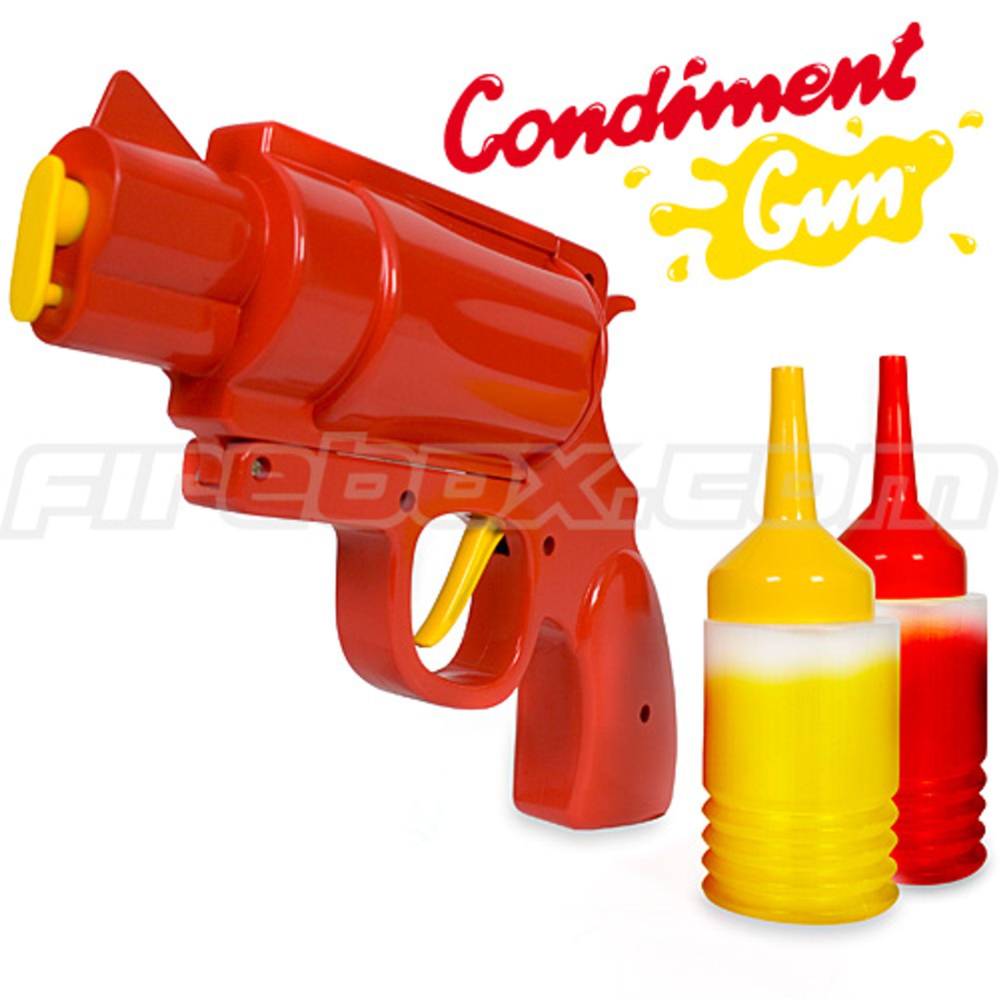 Namm! Ketchup fra revolver er tingen.
