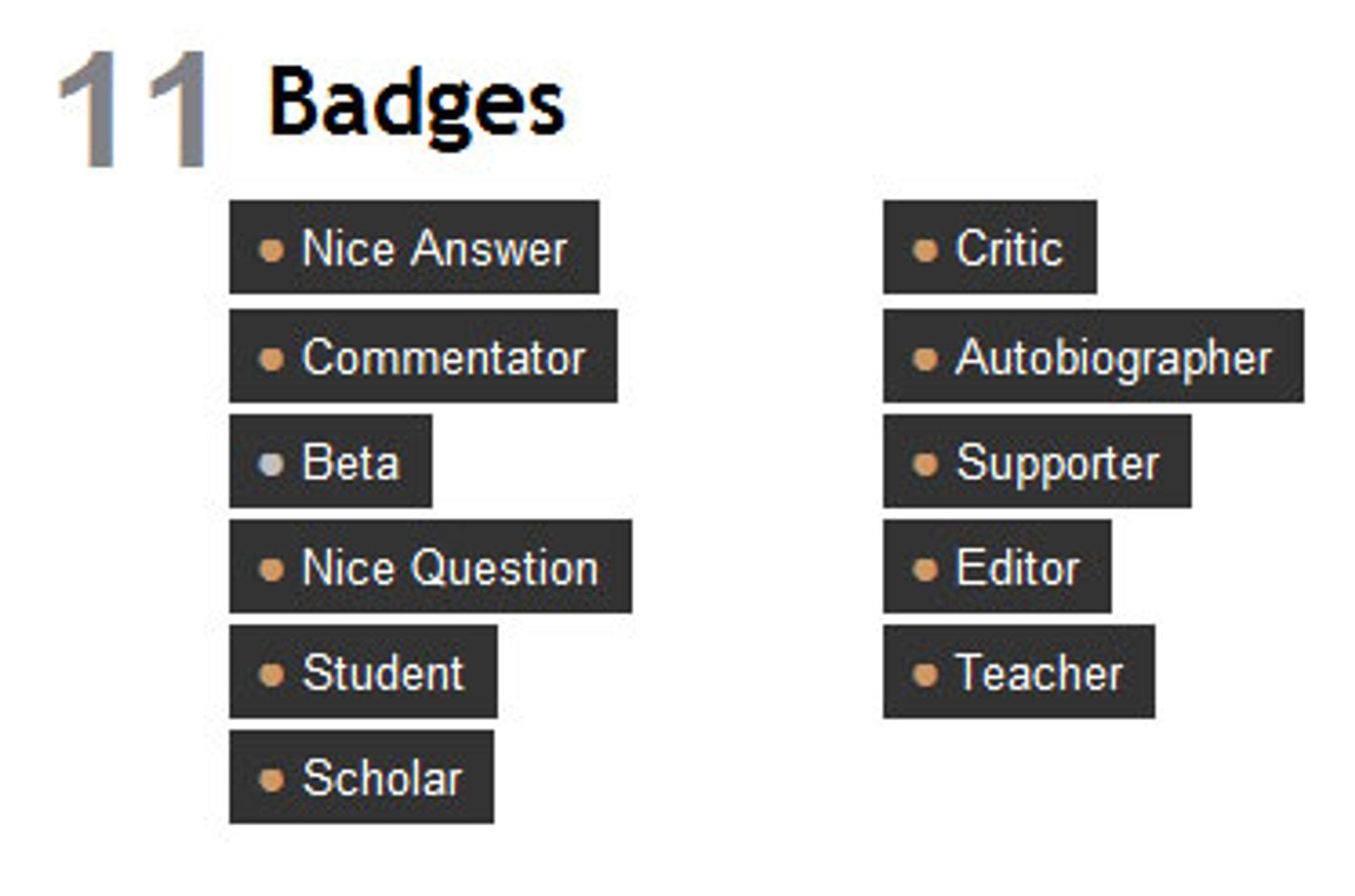 Artikkelforfatter har fått en liten samling med emblemer.