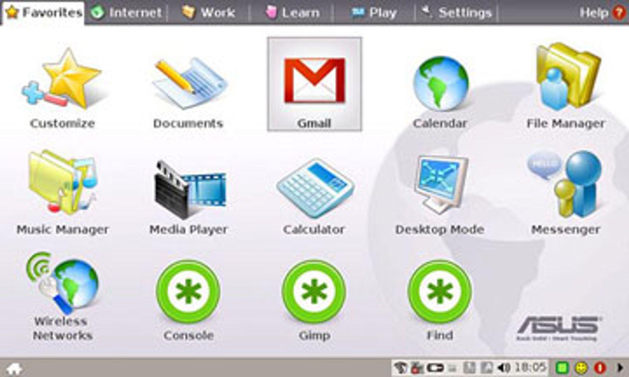 Skjermbilde fra Linux-distribusjonen til Asus Eee PC 701