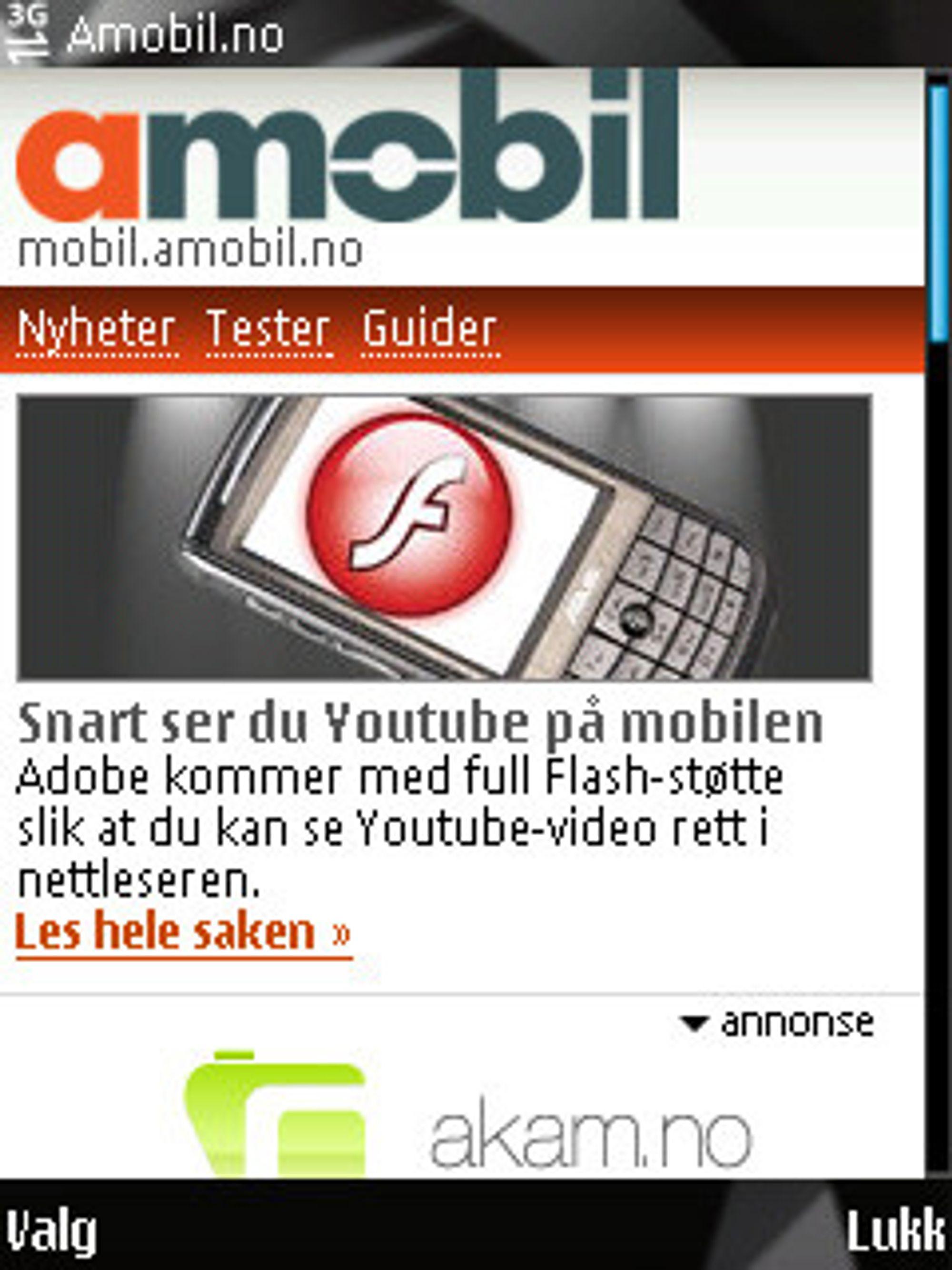 Bruker du mobiltilpassede sider, kan du spare mye datatrafikk. (Her: mobil.amobil.no)