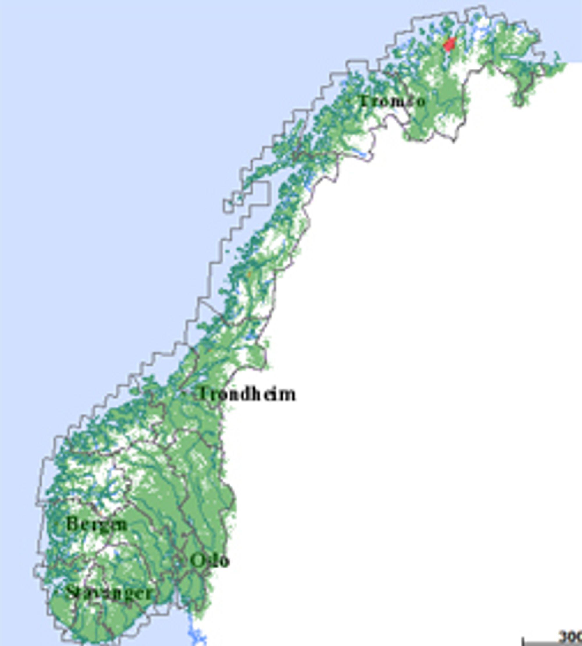 Dette kartet viser hvor Netcom sliter. I øyeblikket er det Hammerfest som er rammet.