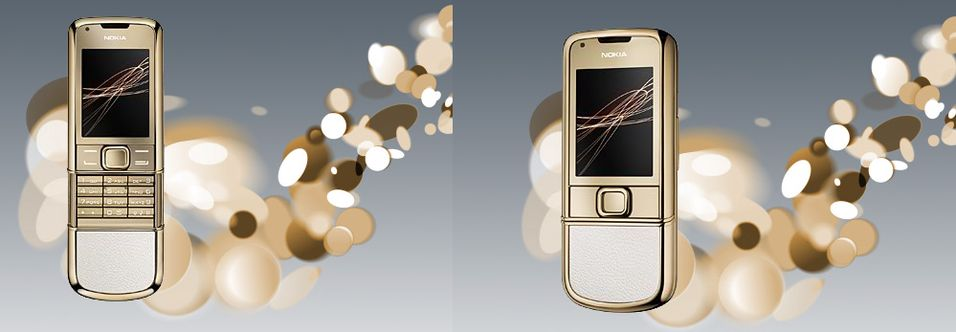 Gull i lange baner på den nye Nokia 8800-modellen.