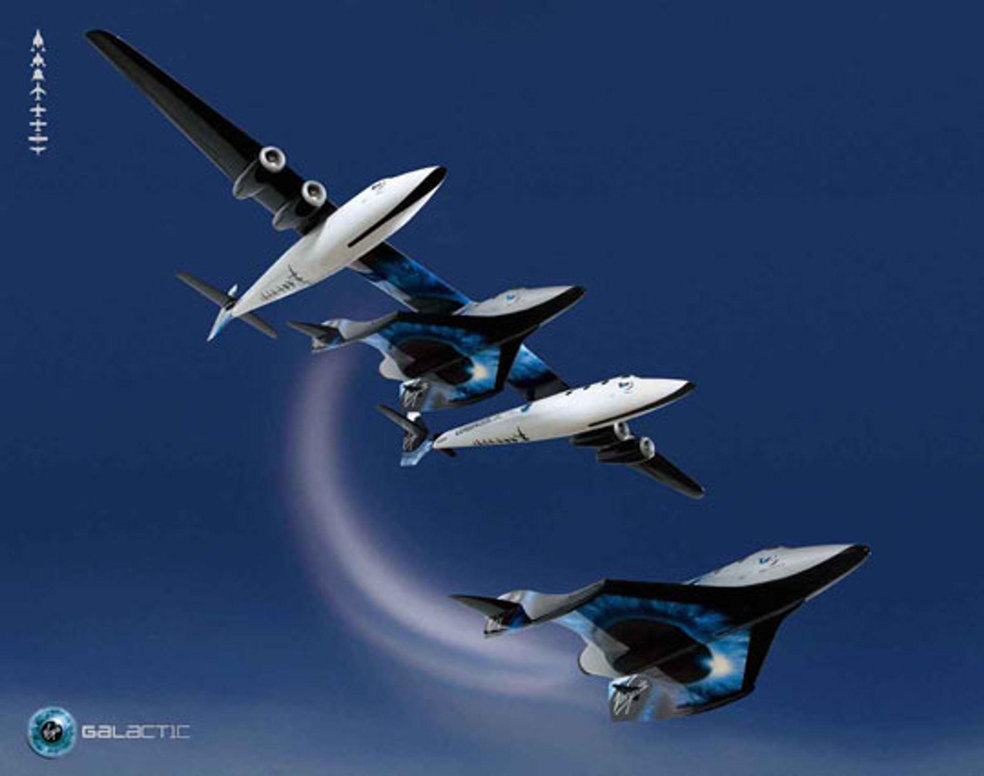 Whiteknighttwo som slipper løs Spaceshiptwo. Foto: Virgin Galactic