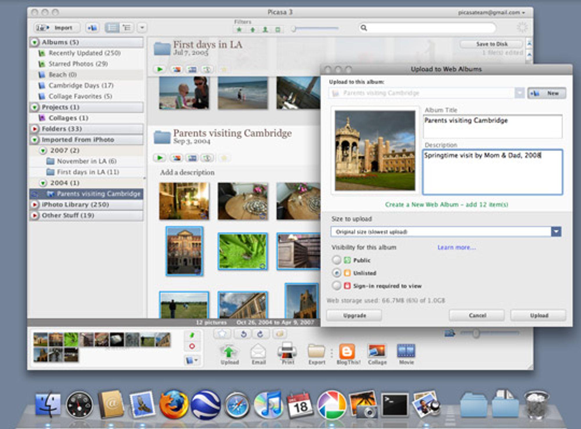Skjermdump fra Picasa på Mac.