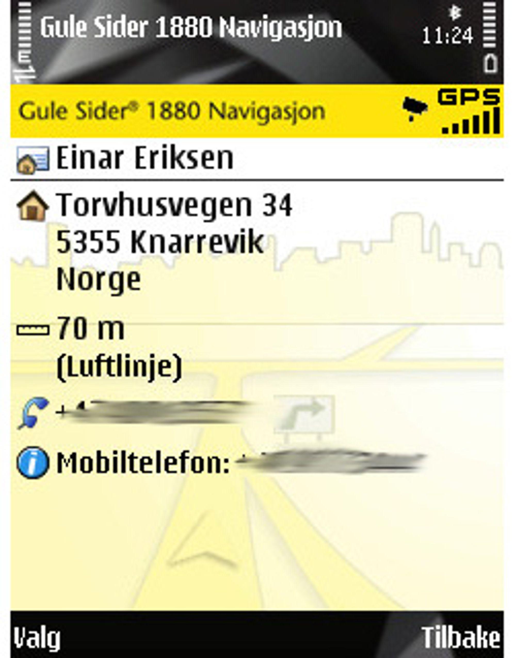 Med Gulesider 1880 Navigasjon, kan du søke på personer og navigere deg på besøk.