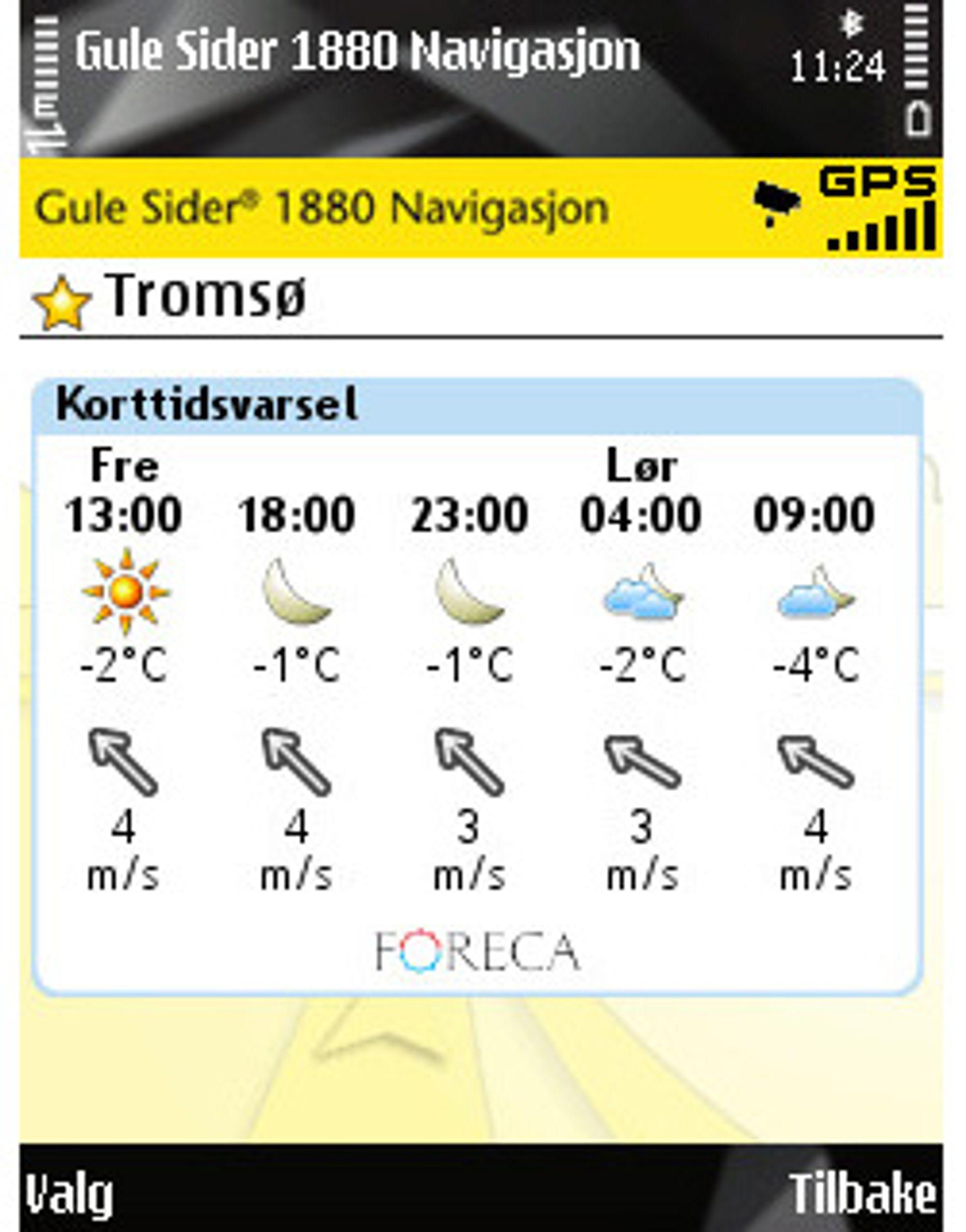 Du får også enkel tilgang på værmeldingen der du befinner deg eller andre steder via Gulesider 1880 Navigasjon.