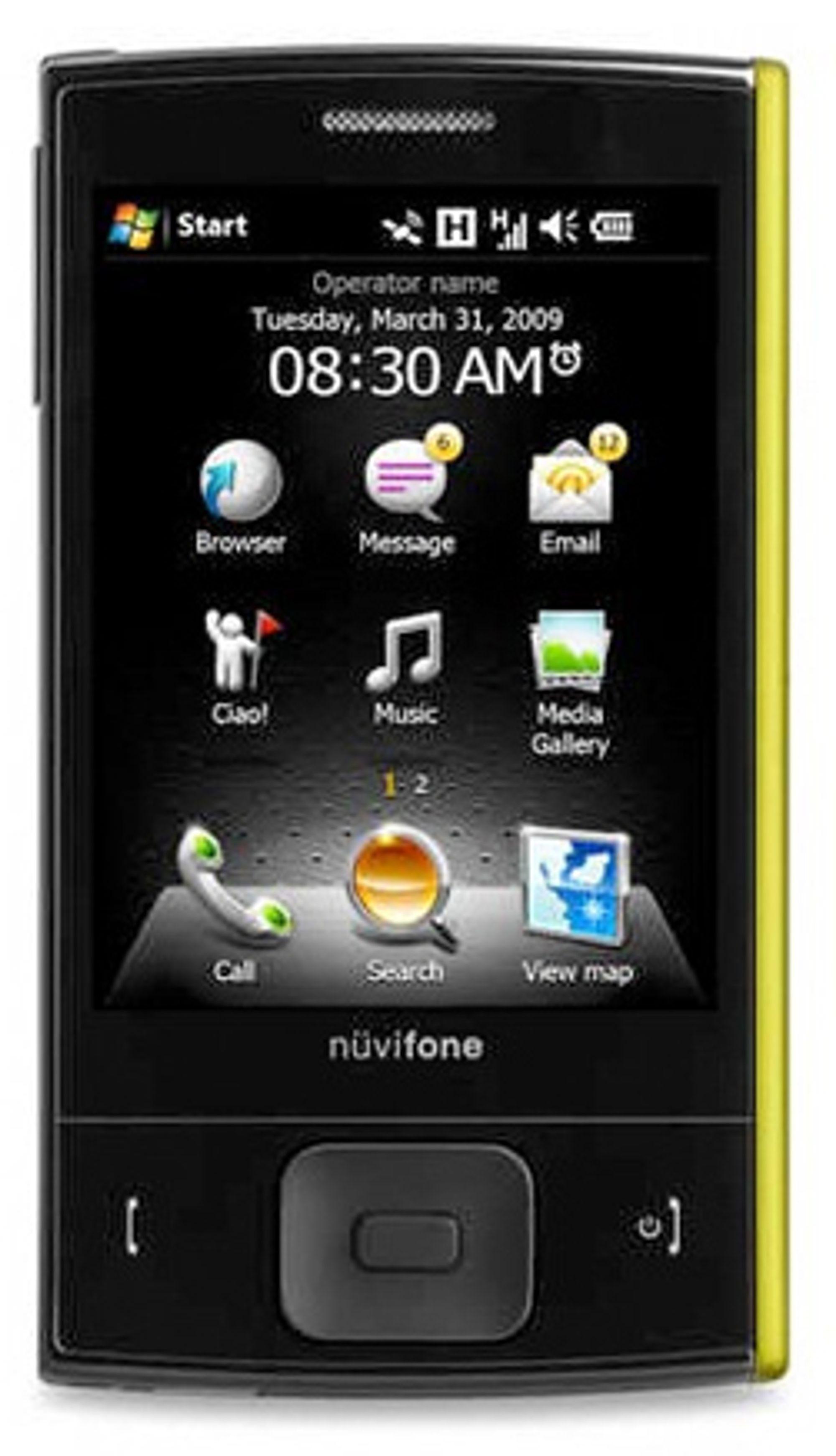 Menysystemet er egetutviklet, og ligger oppå Windows Mobile.